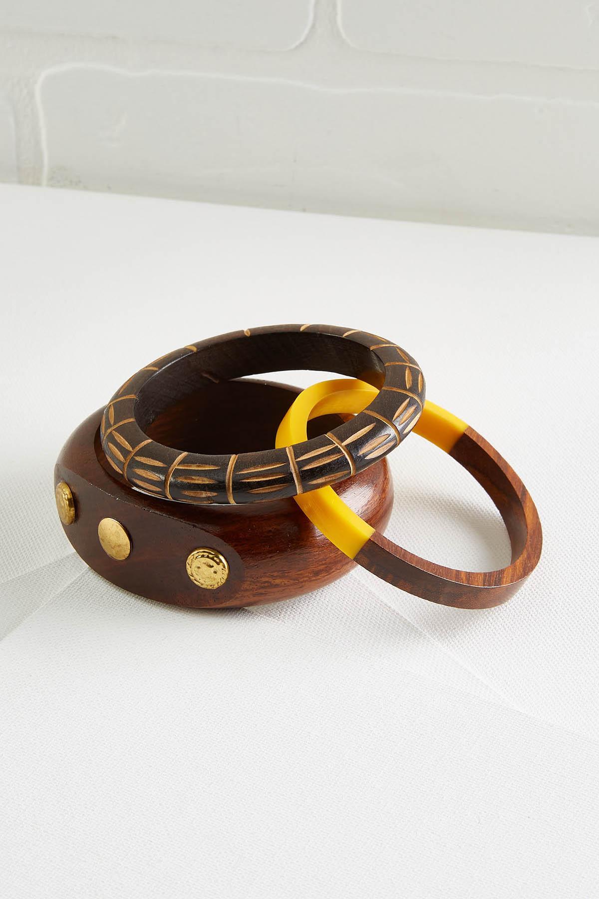 Chunky Wooden Bangle Set