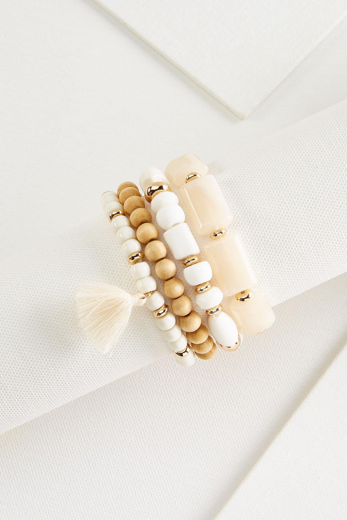 Mixed Bead Tassel Bracelet Set