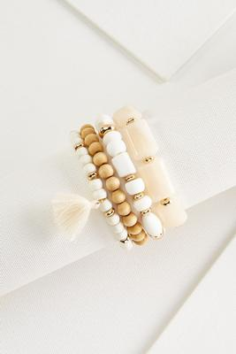 mixed bead tassel bracelet set