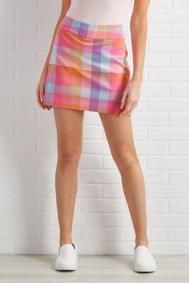 plaid it`s spring skort