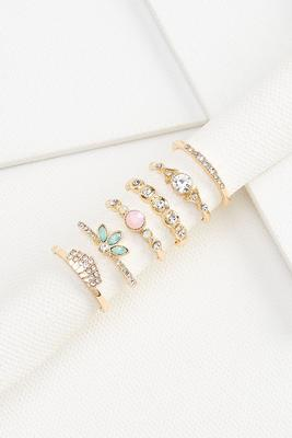 stacked stone ring set