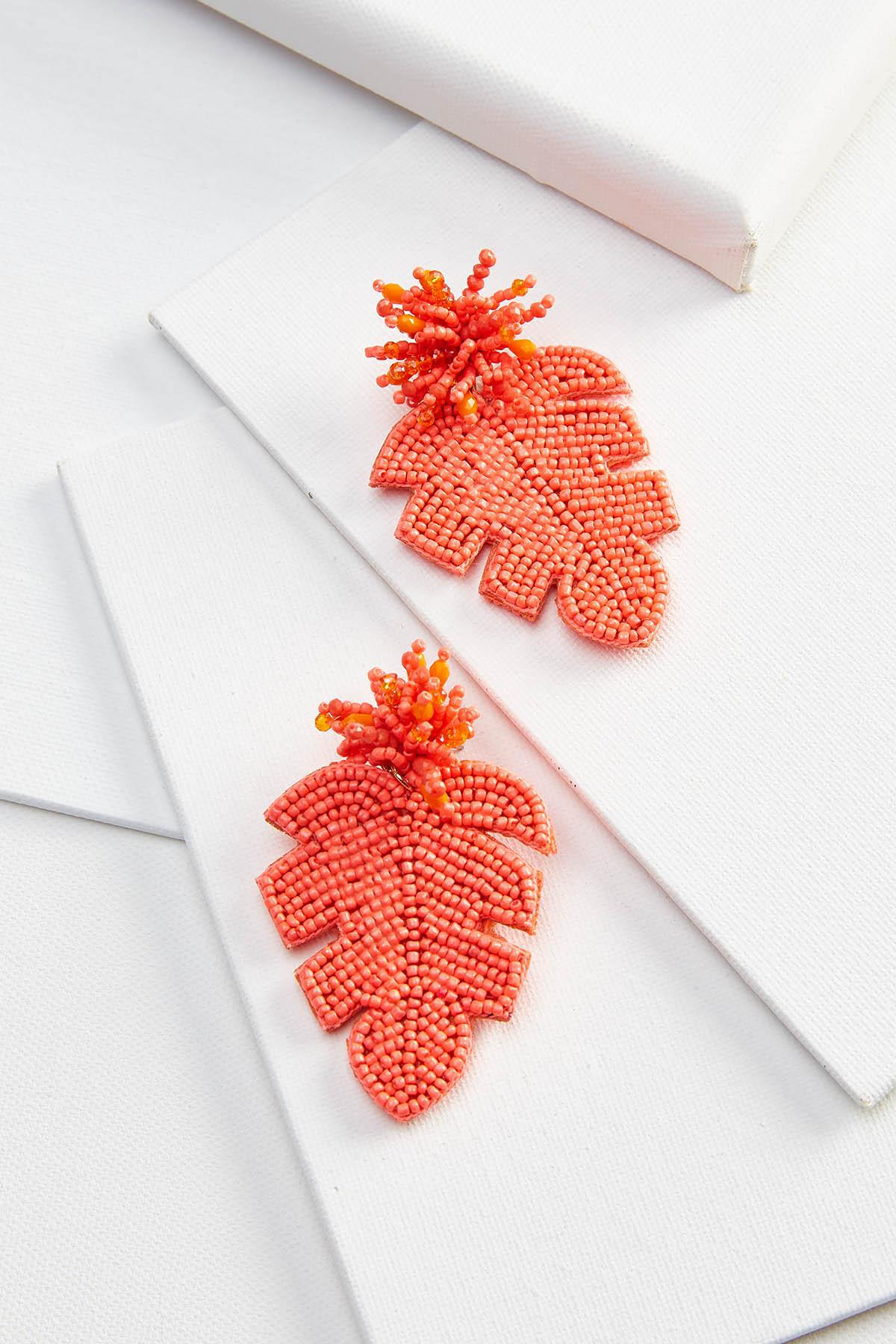 Beaded Palm Earrings