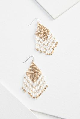 beaded geo earrings