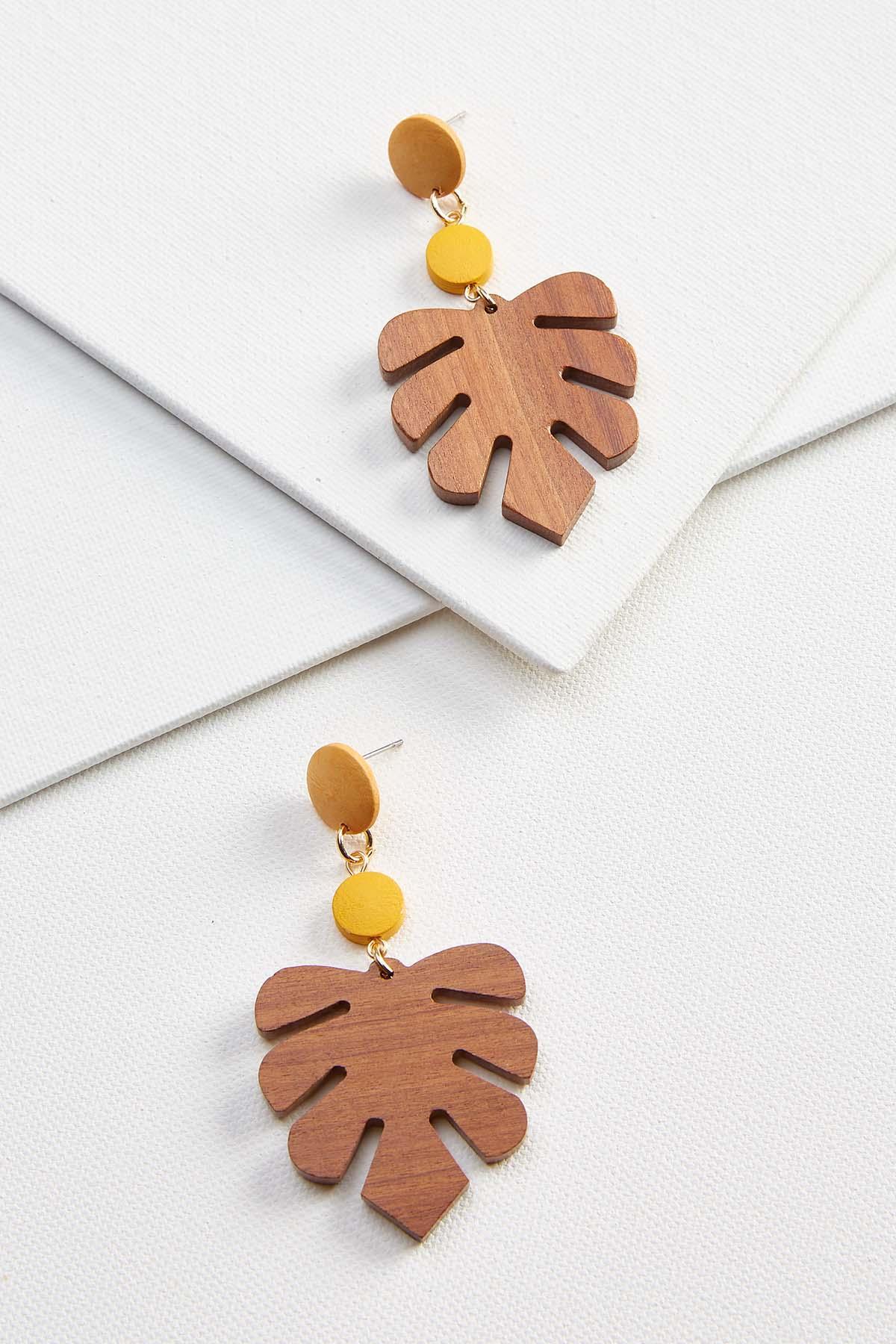 Wooden Palm Earrings