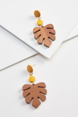 wooden palm earrings