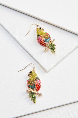 glitzy parrott earrings