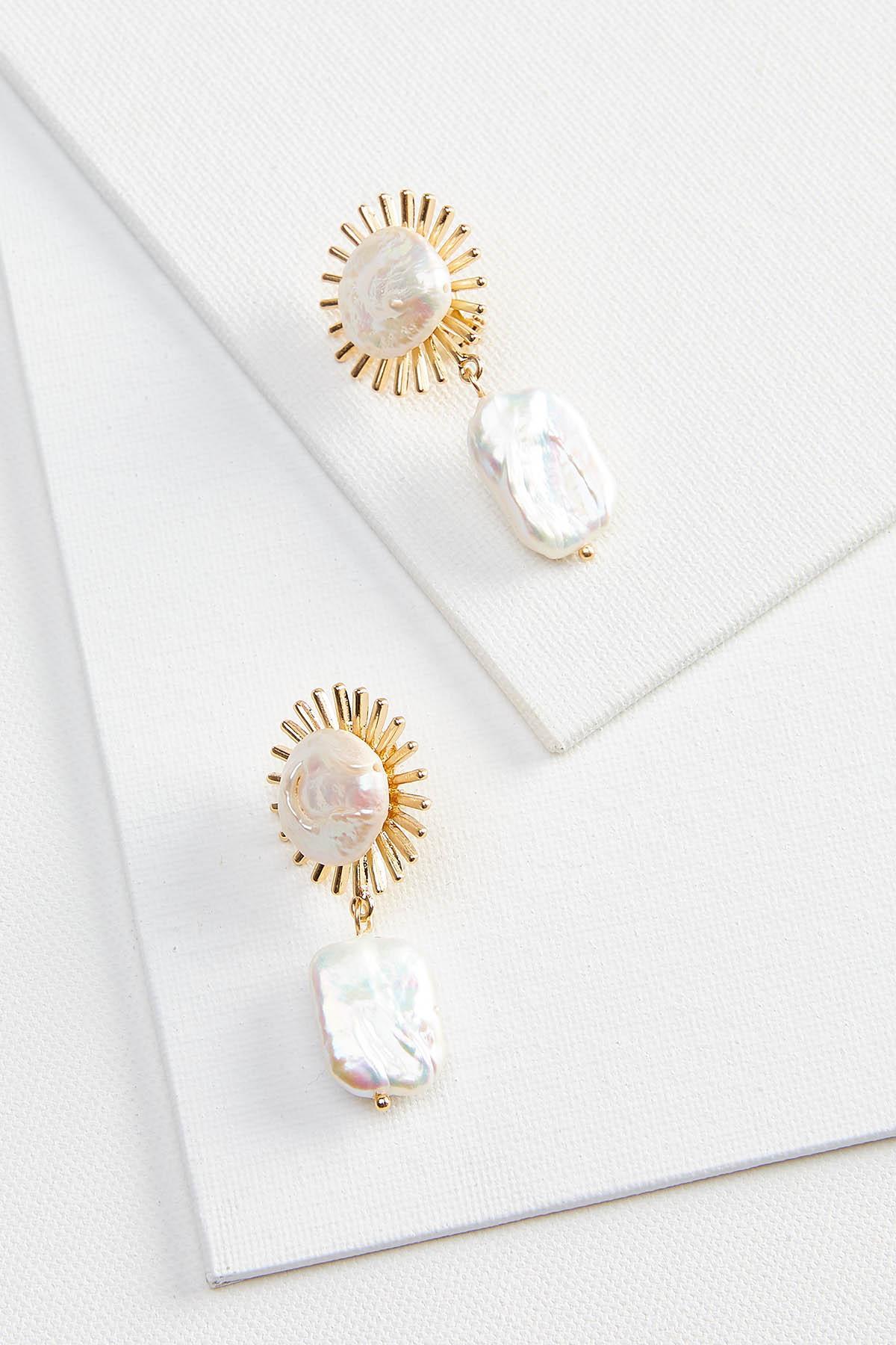 Starburst Pearl Clip Earrings