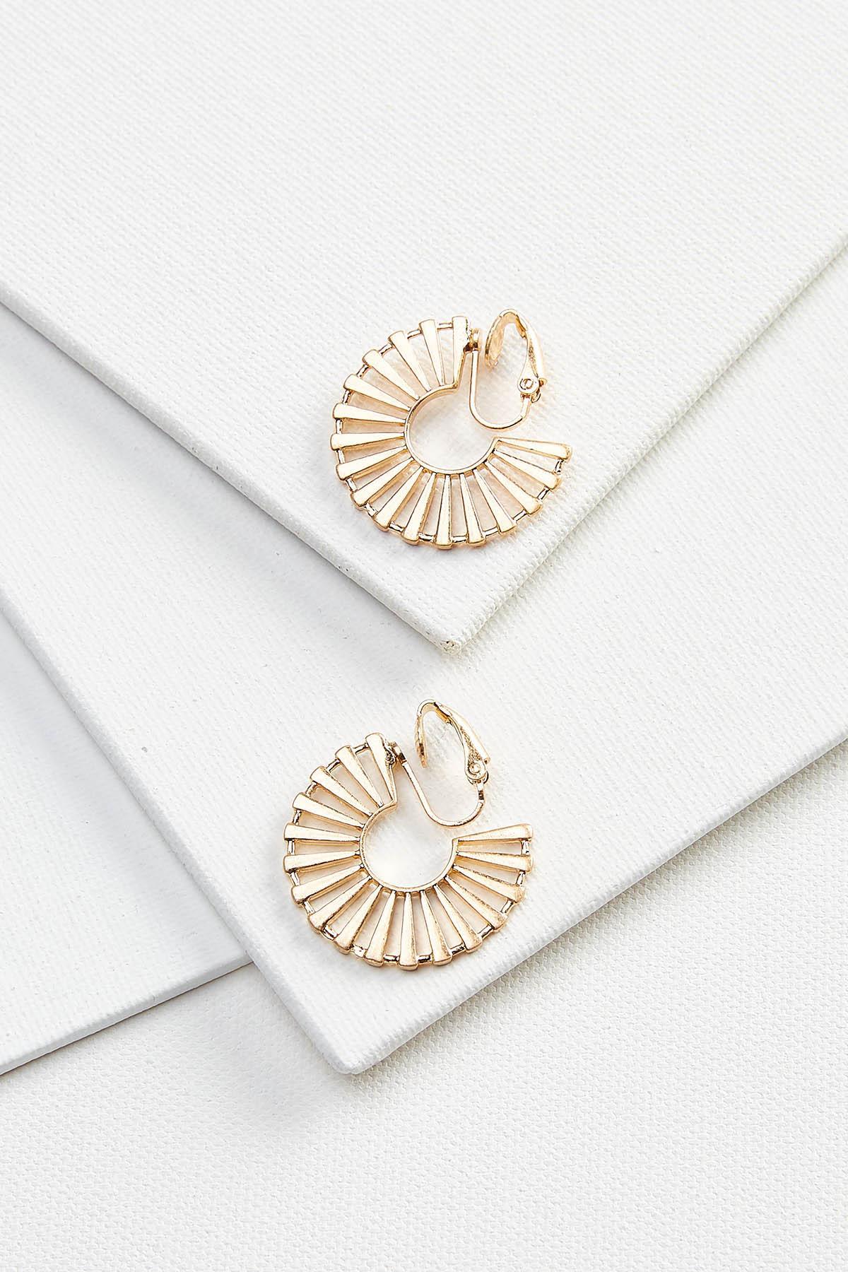 Golden Burst Clip On Earrings
