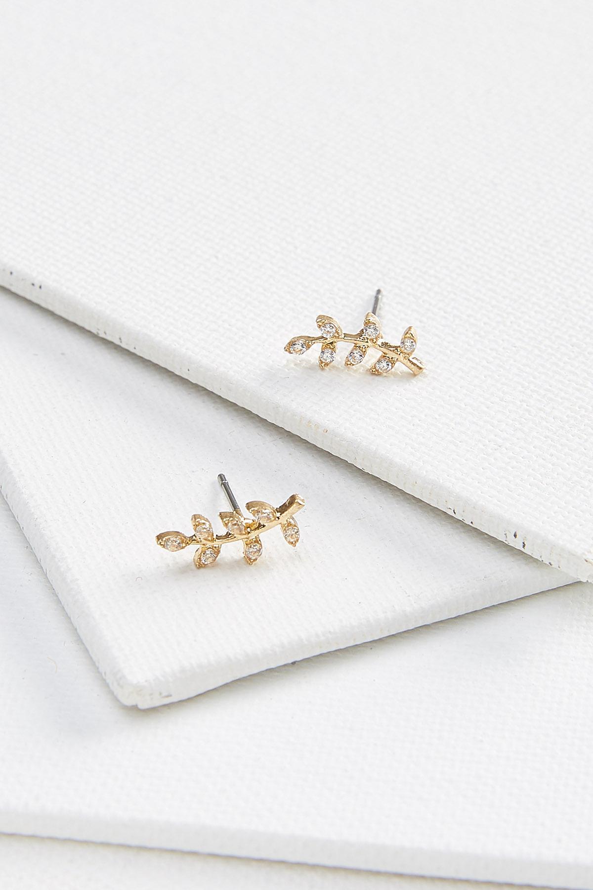 Pave Leaf Earrings