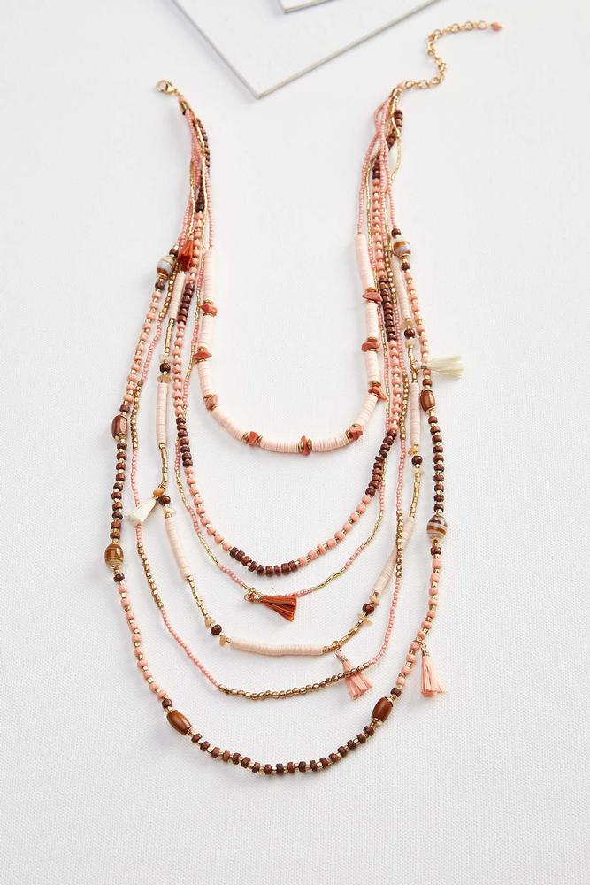 Layered Wood And Sequin Necklace
