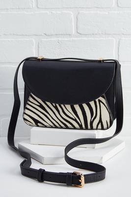 zebra faux fur crossbody