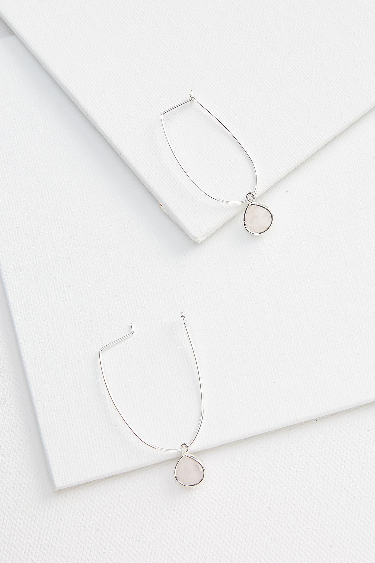 Oval Stone Hoop Earrings