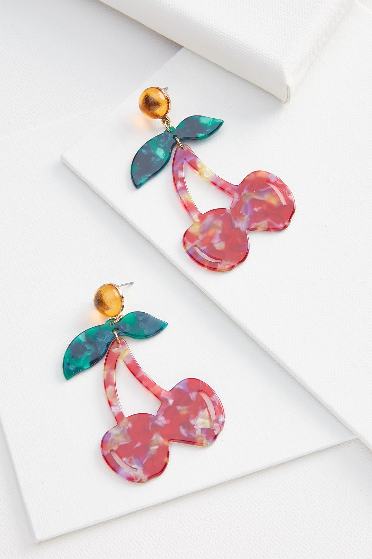Cherry Lucite Earrings