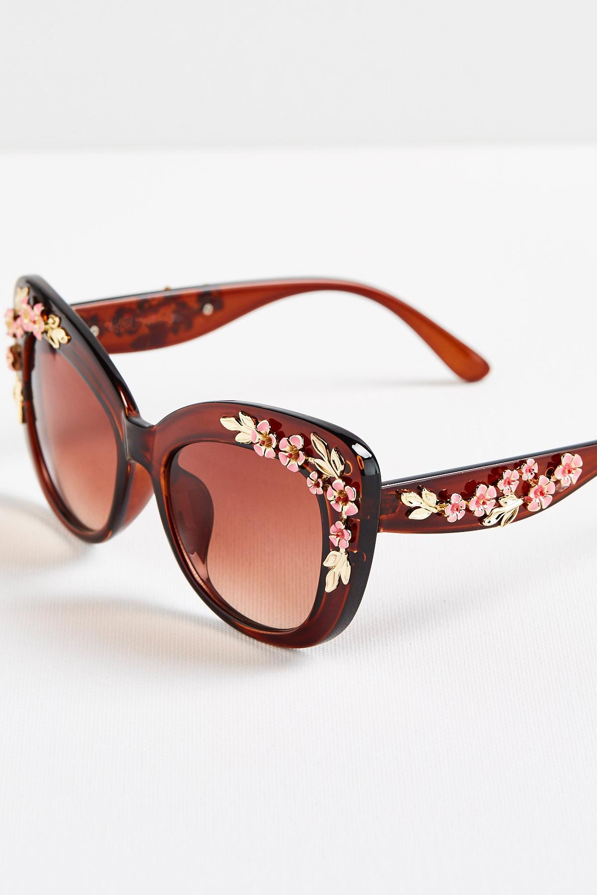 Floral Embellished Cateye Sunglasses