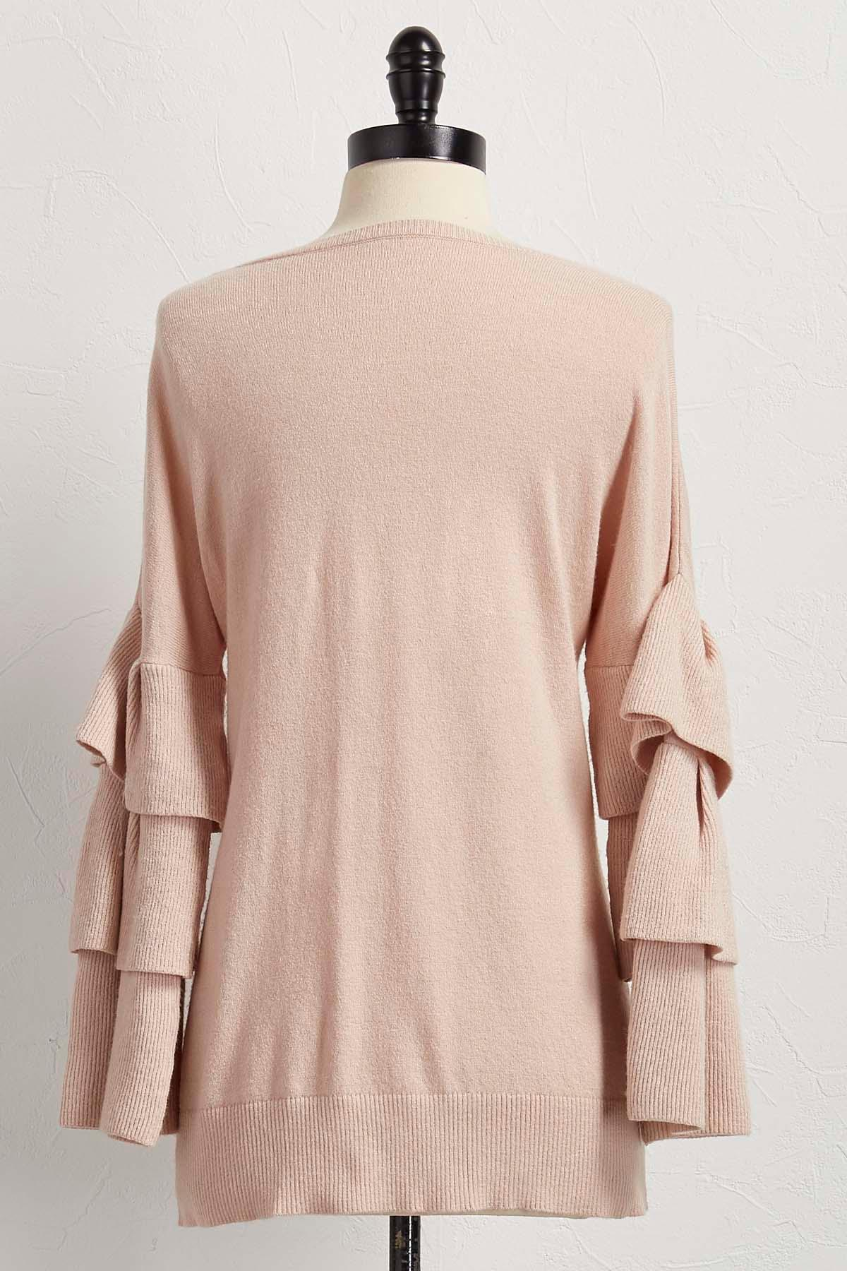 Versona Tiered Ruffle Sleeve Sweater