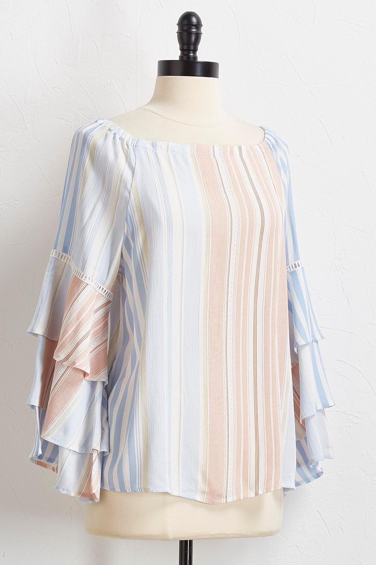 Stripes And Ruffles Off The Shoulder Top