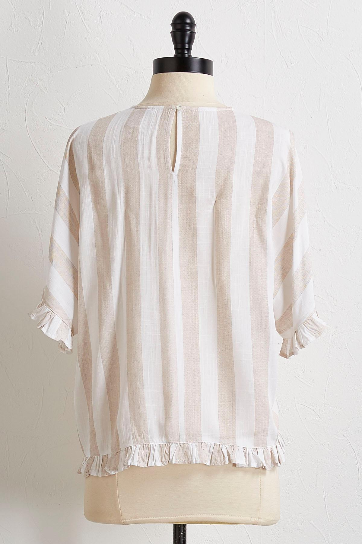 Striped Ruffled Hem Top
