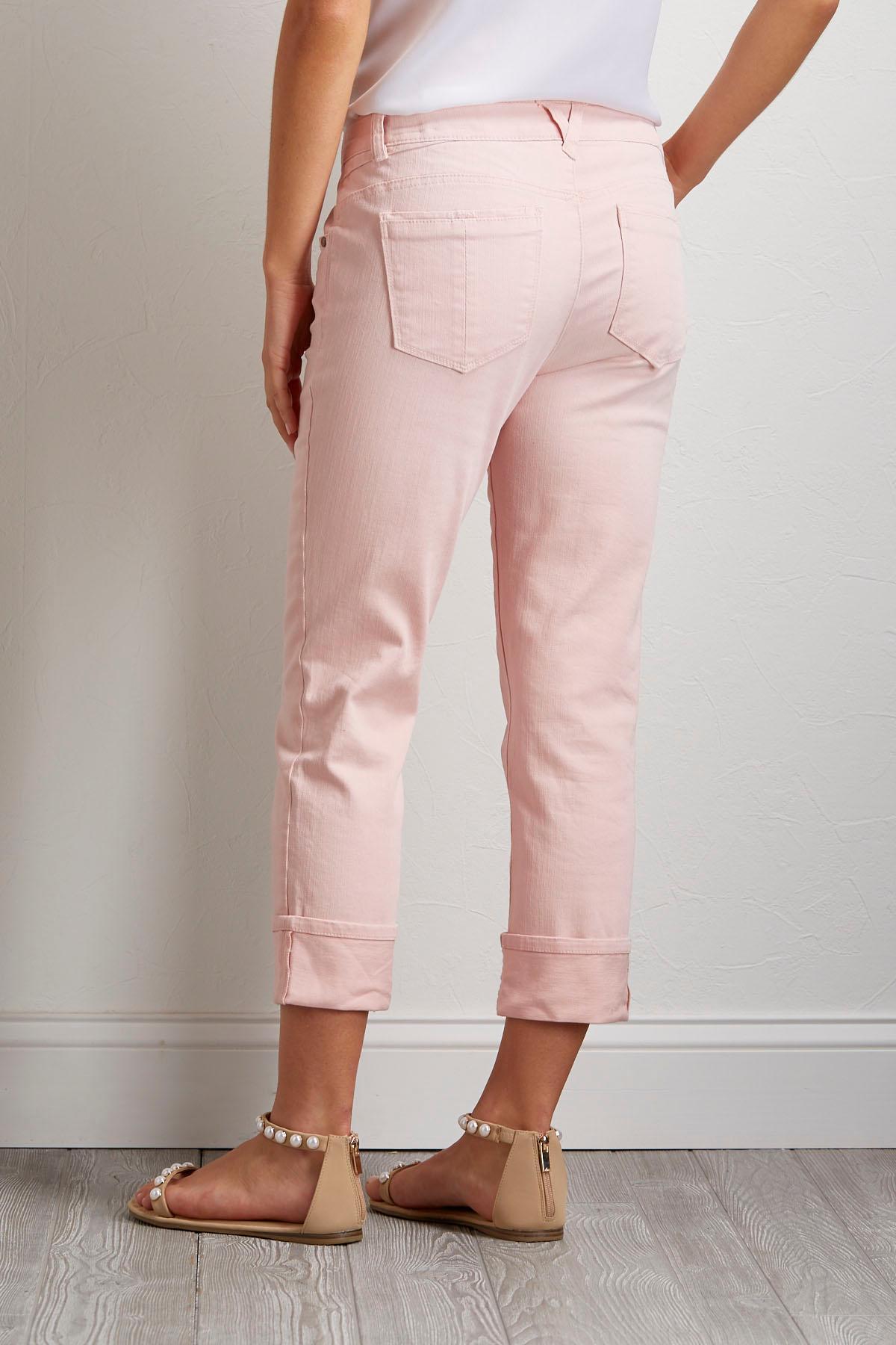 Cropped Woven Denim Pants