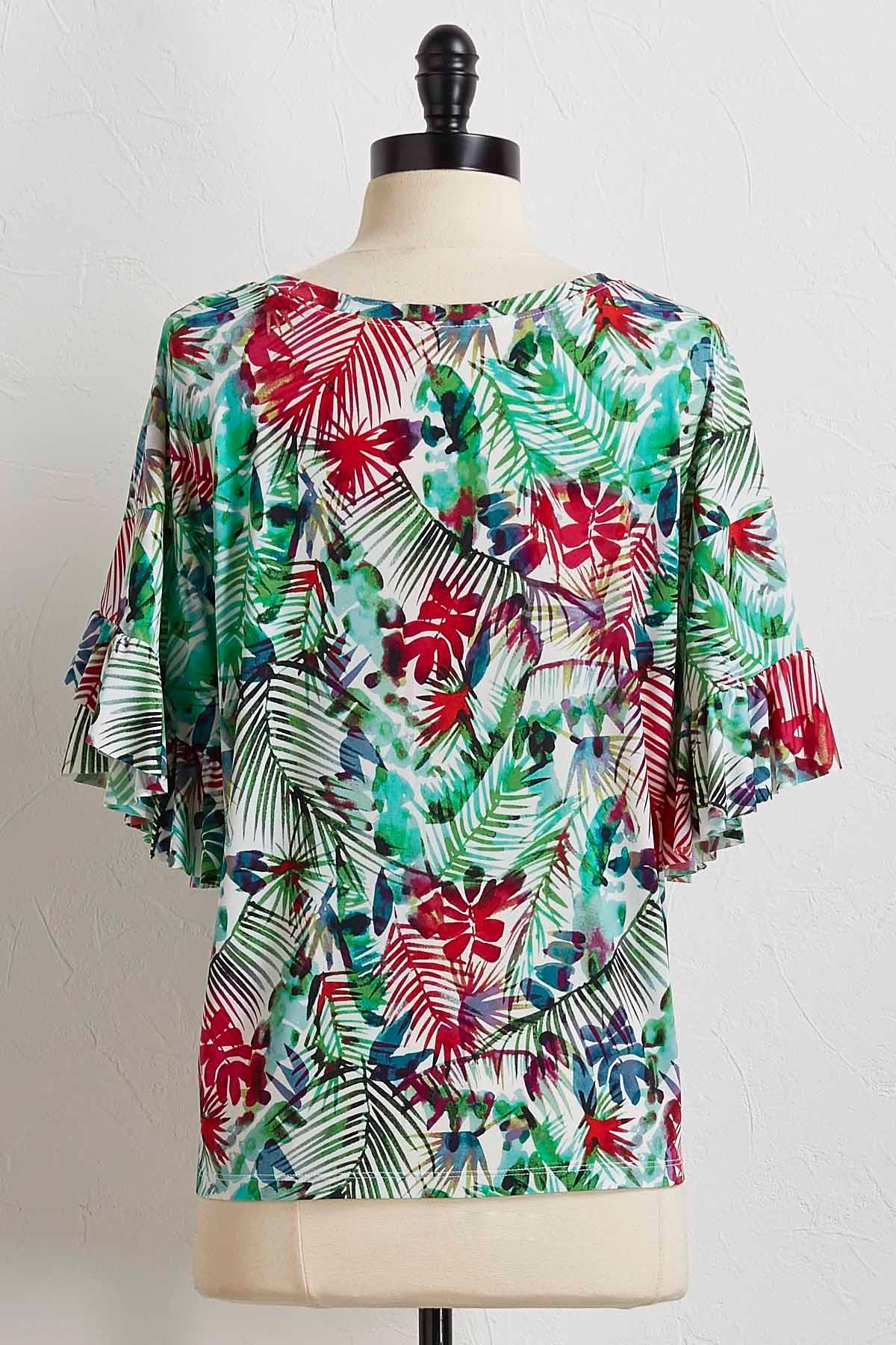 Palm Ruffle Sleeve Top