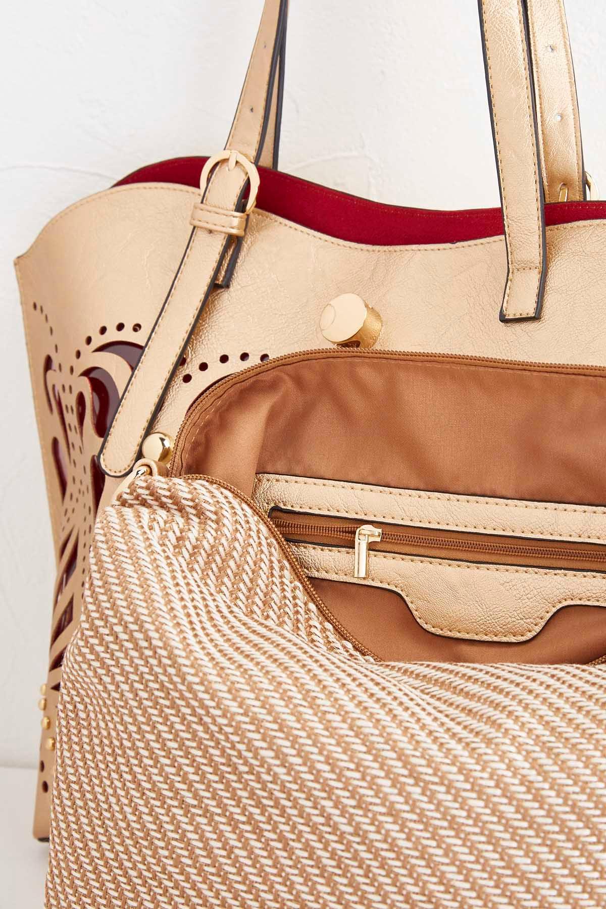 Cutout Bag In Bag Tote