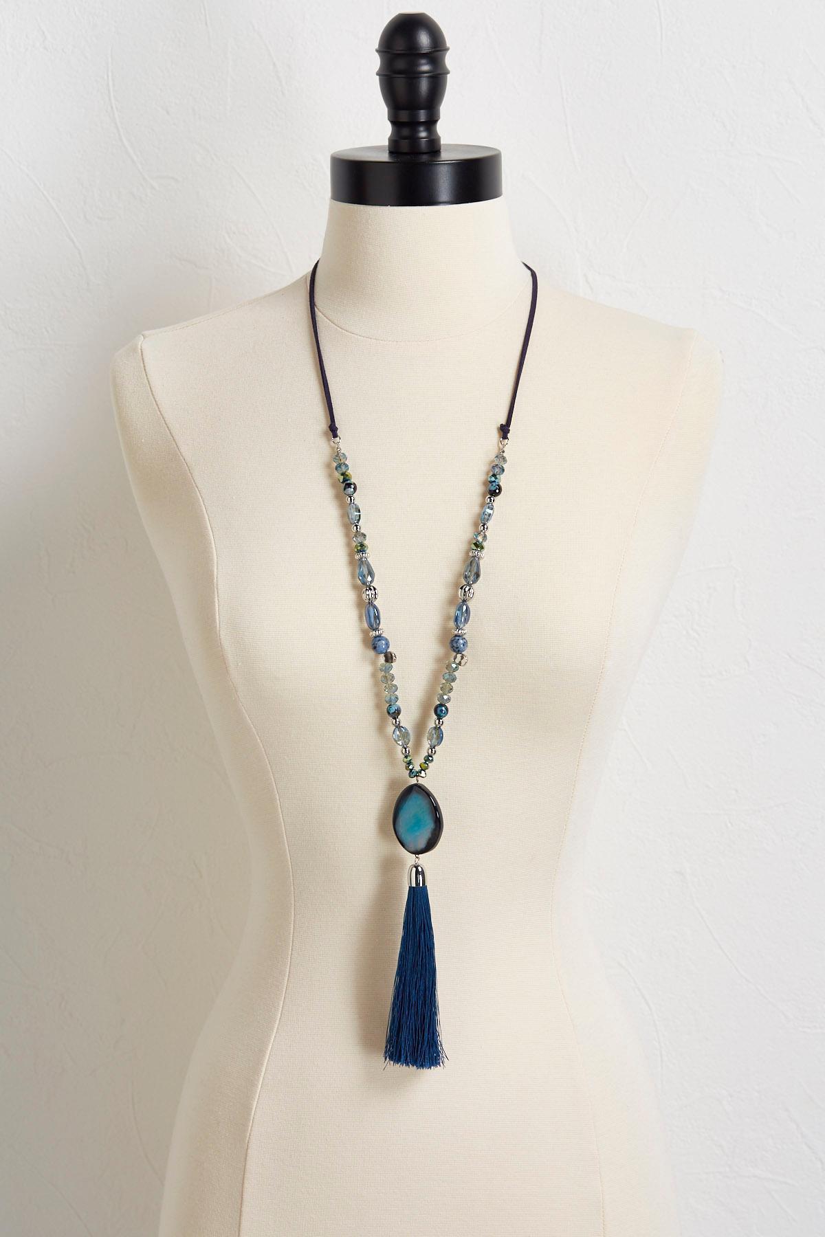 Semi- Precious Navy Tassel Necklace