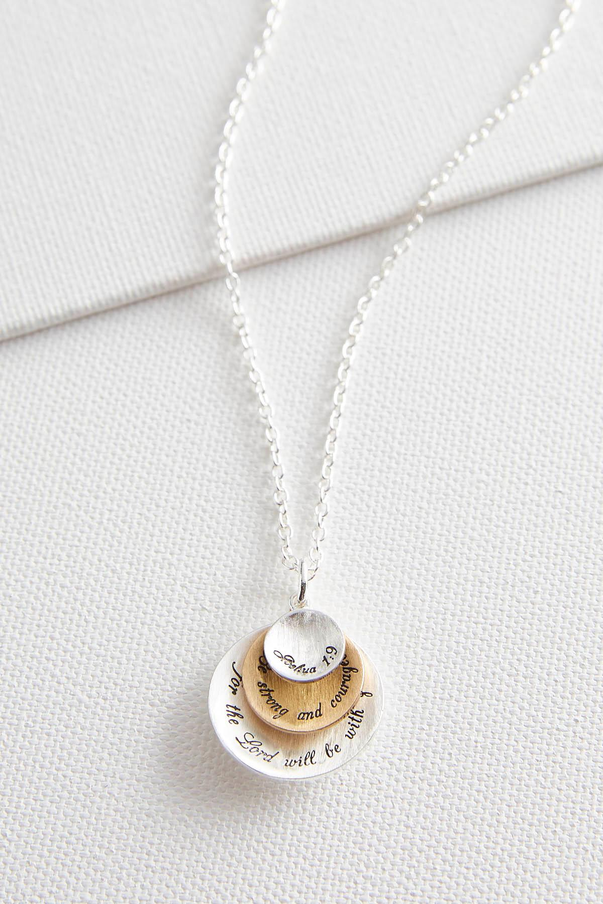 Two- Toned Be Strong Pendant Necklace
