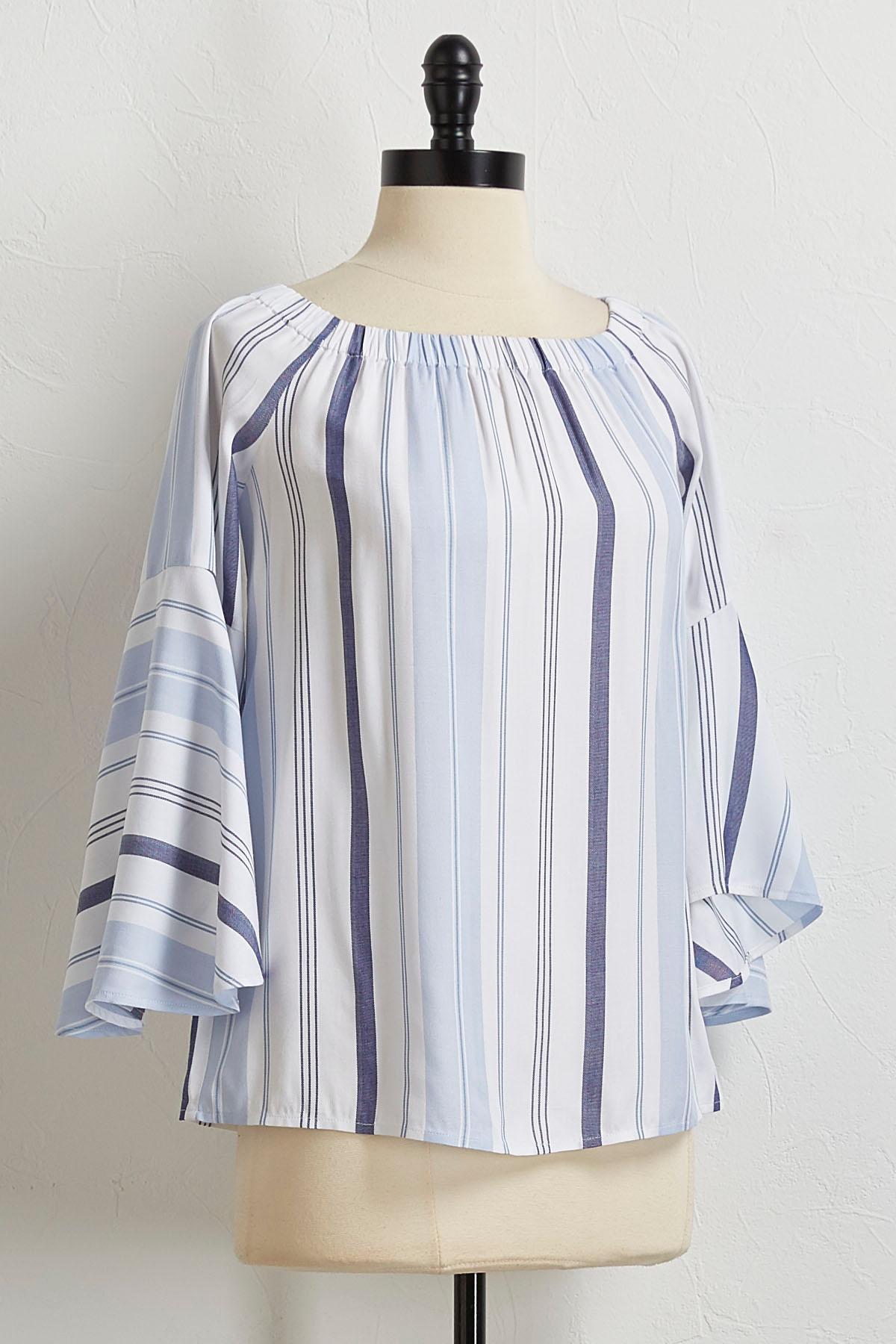 Blue Stripe Off The Shoulder Top
