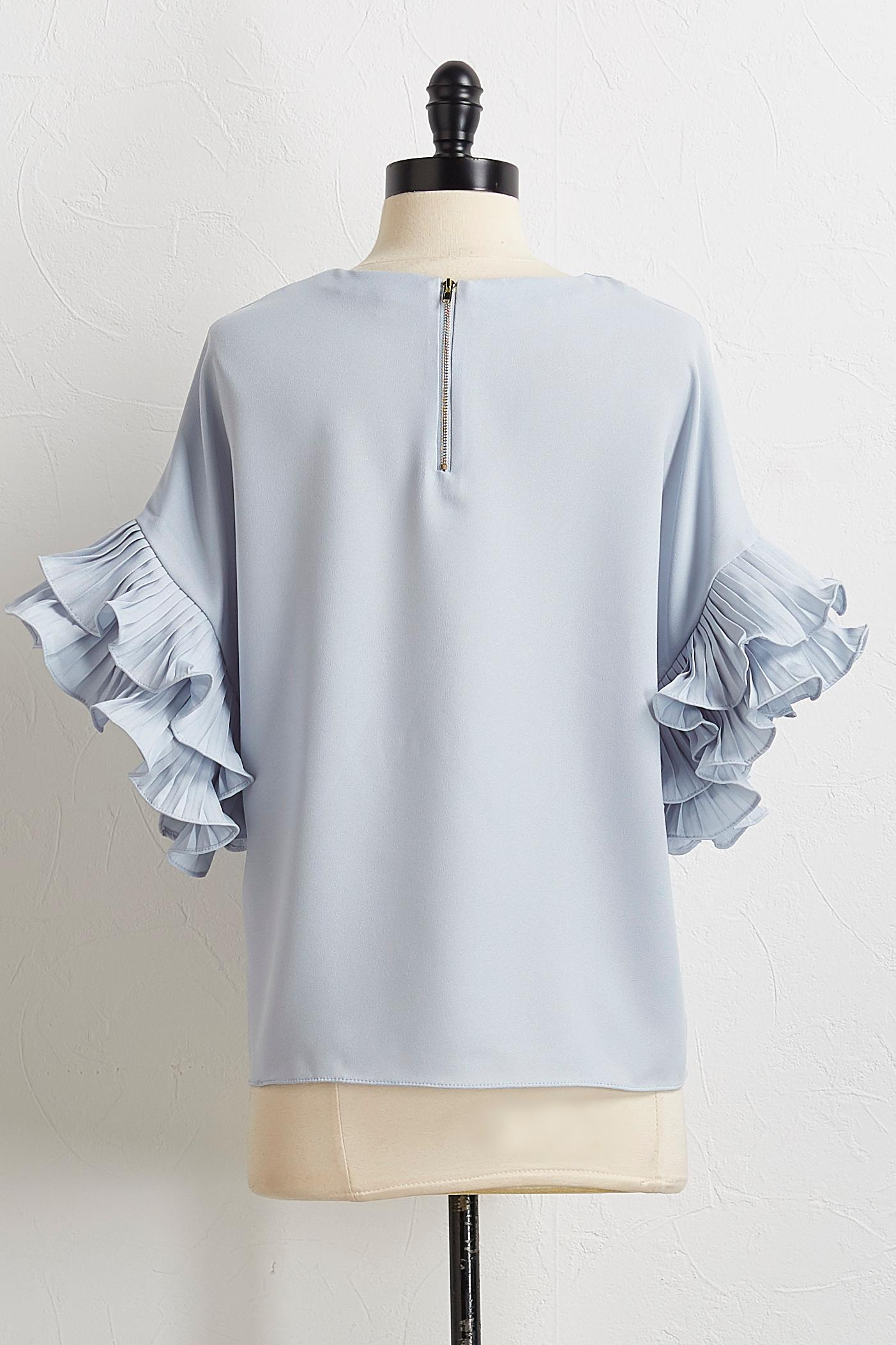 Pleated Tiered Sleeve Top