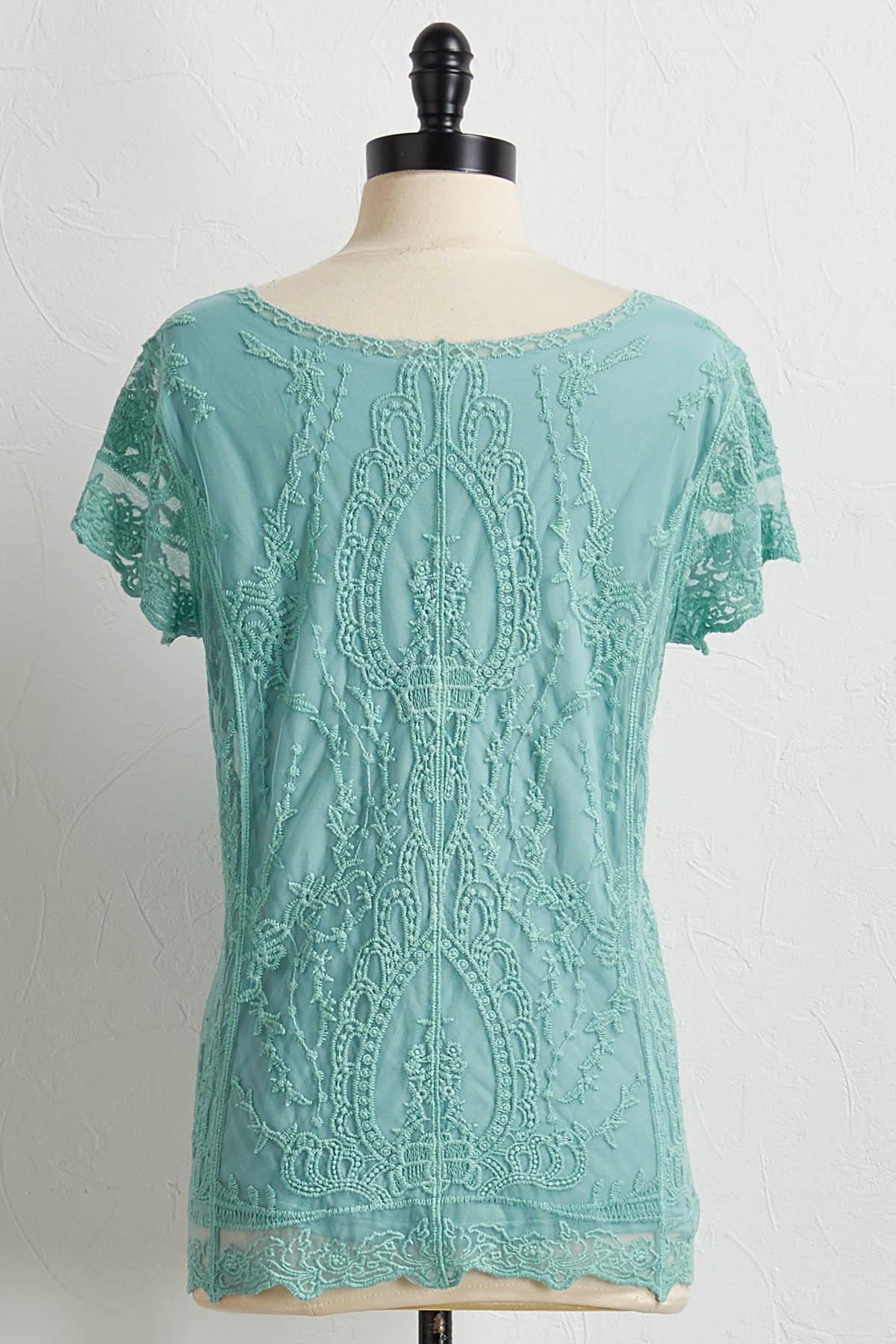 Mint Mesh Lace Top