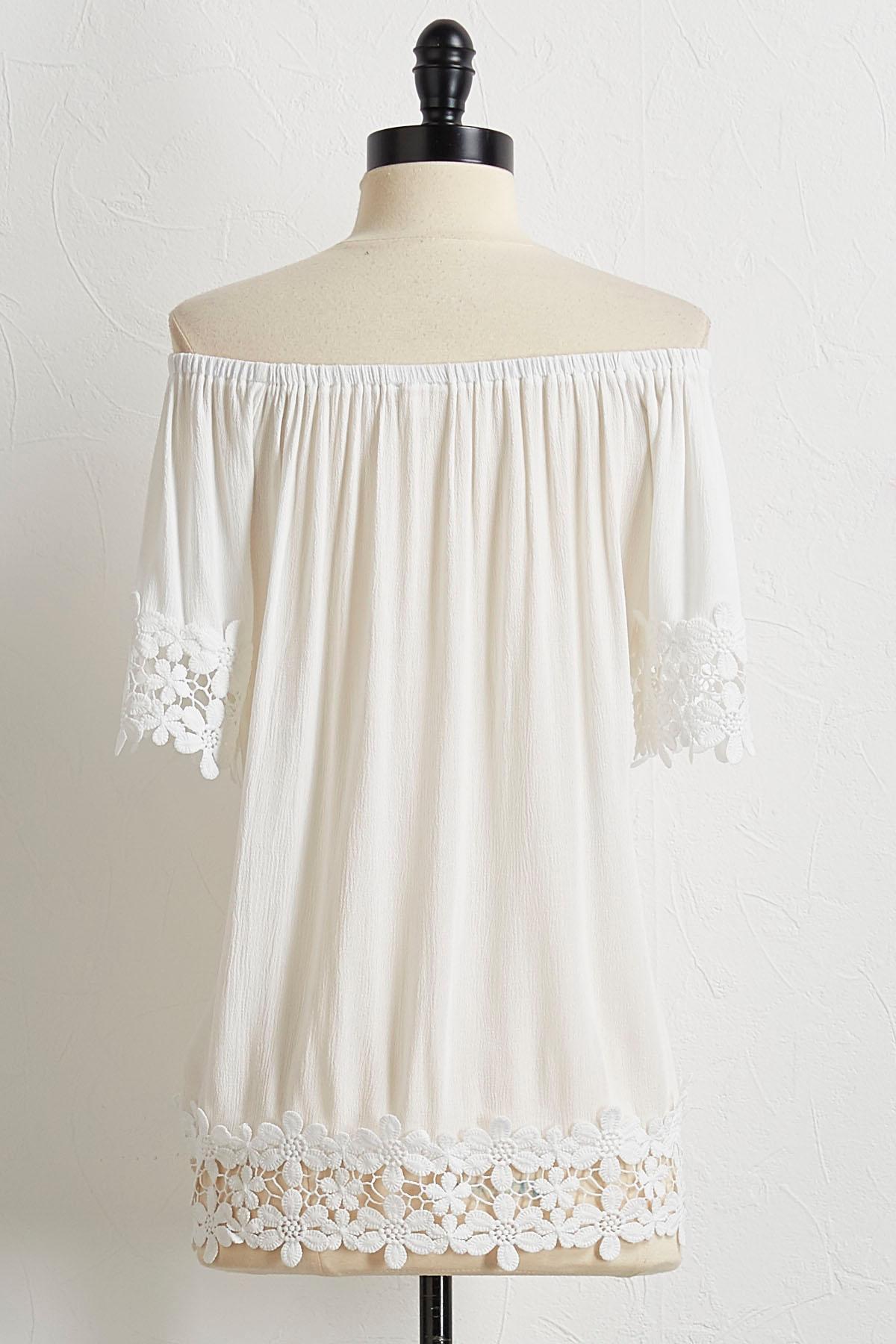 Floral Crochet Off The Shoulder Top