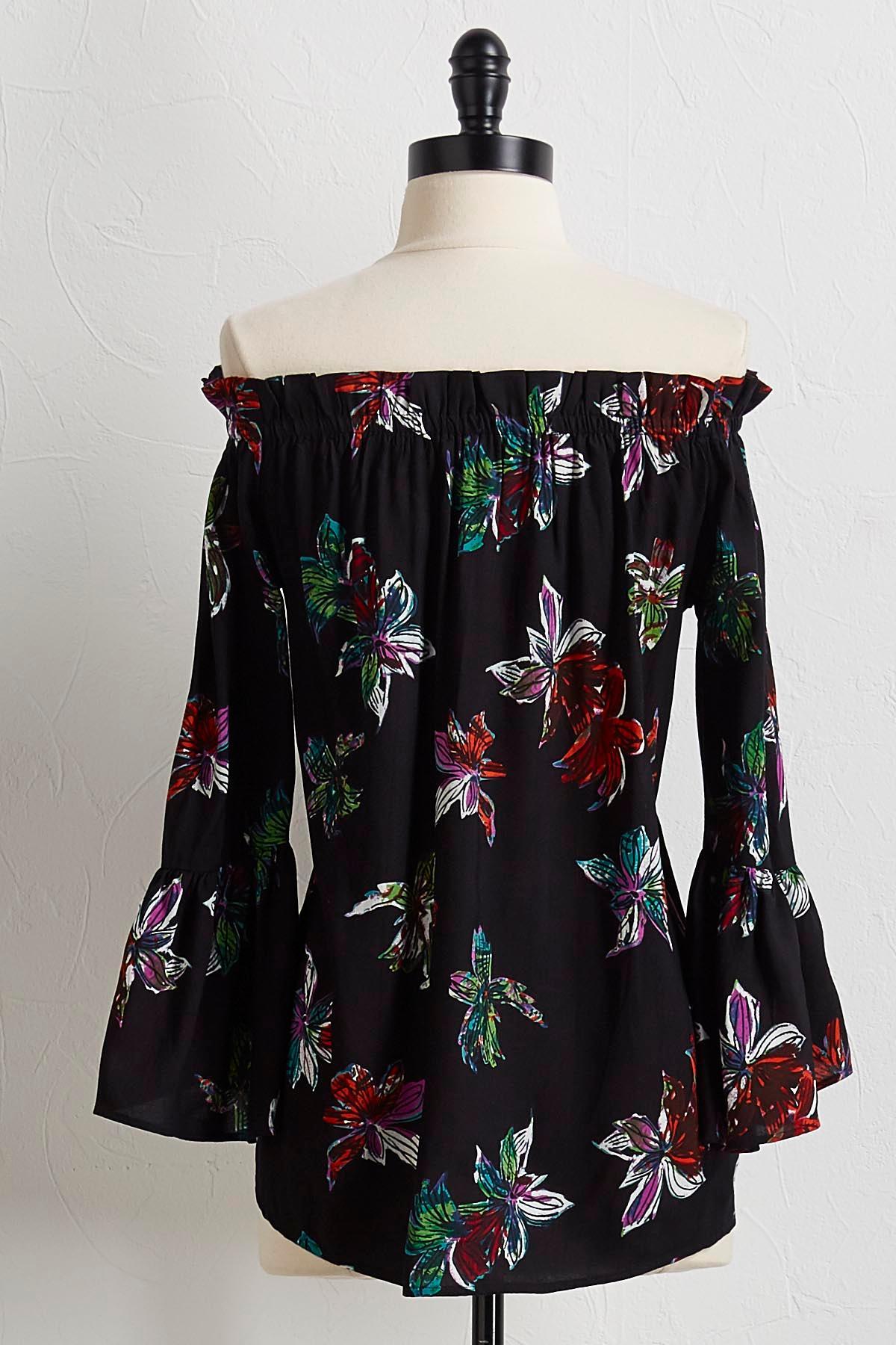 Black Floral Off The Shoulder Top