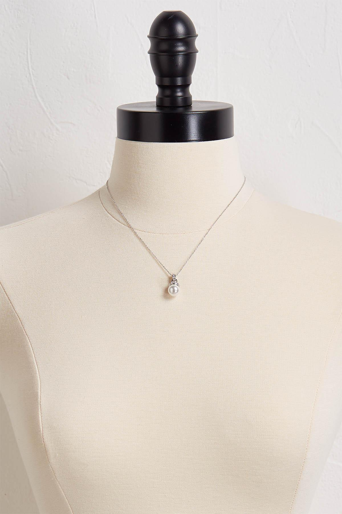 Pave And Pearl Pendant Necklace