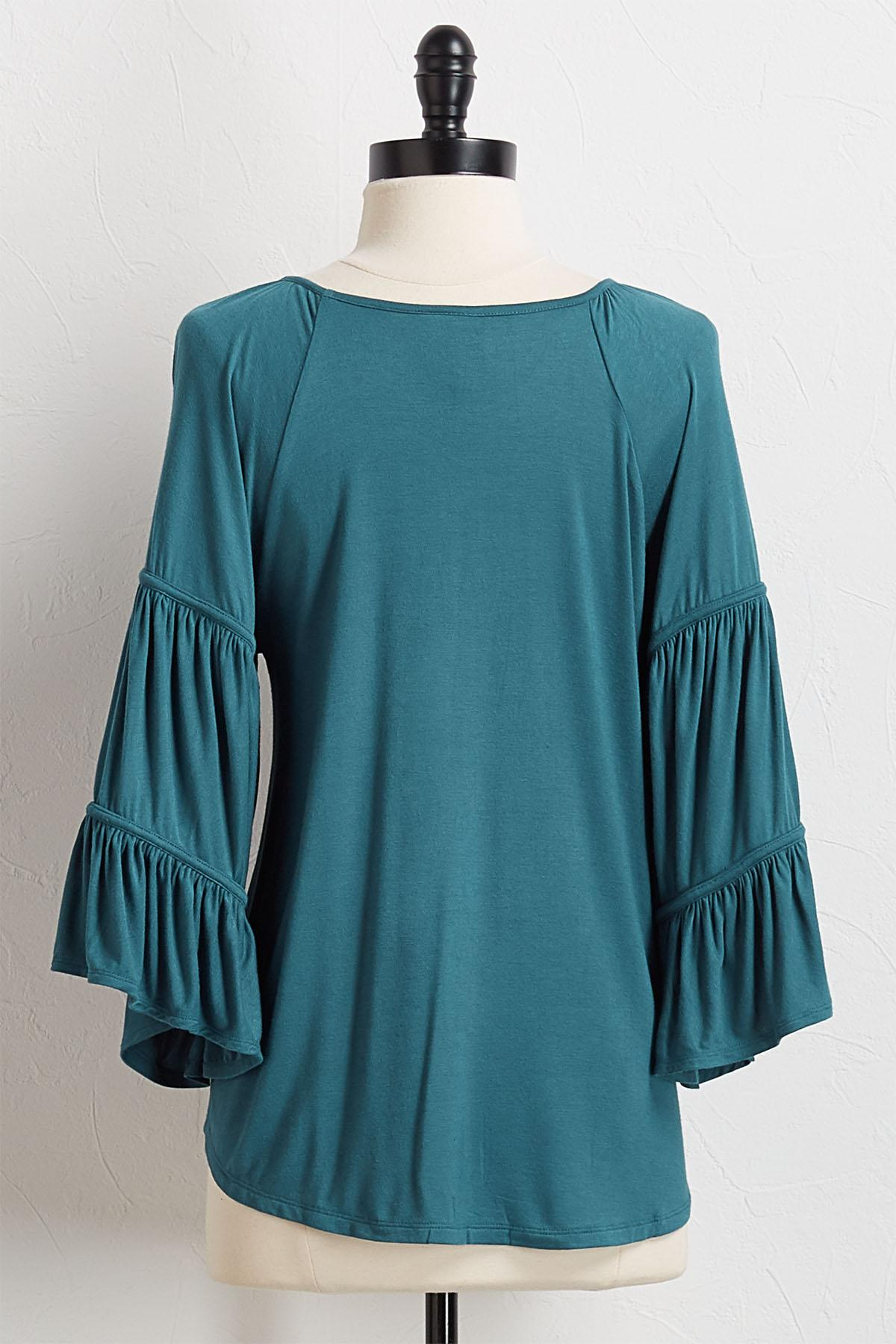 Flare Sleeve Peasant Top