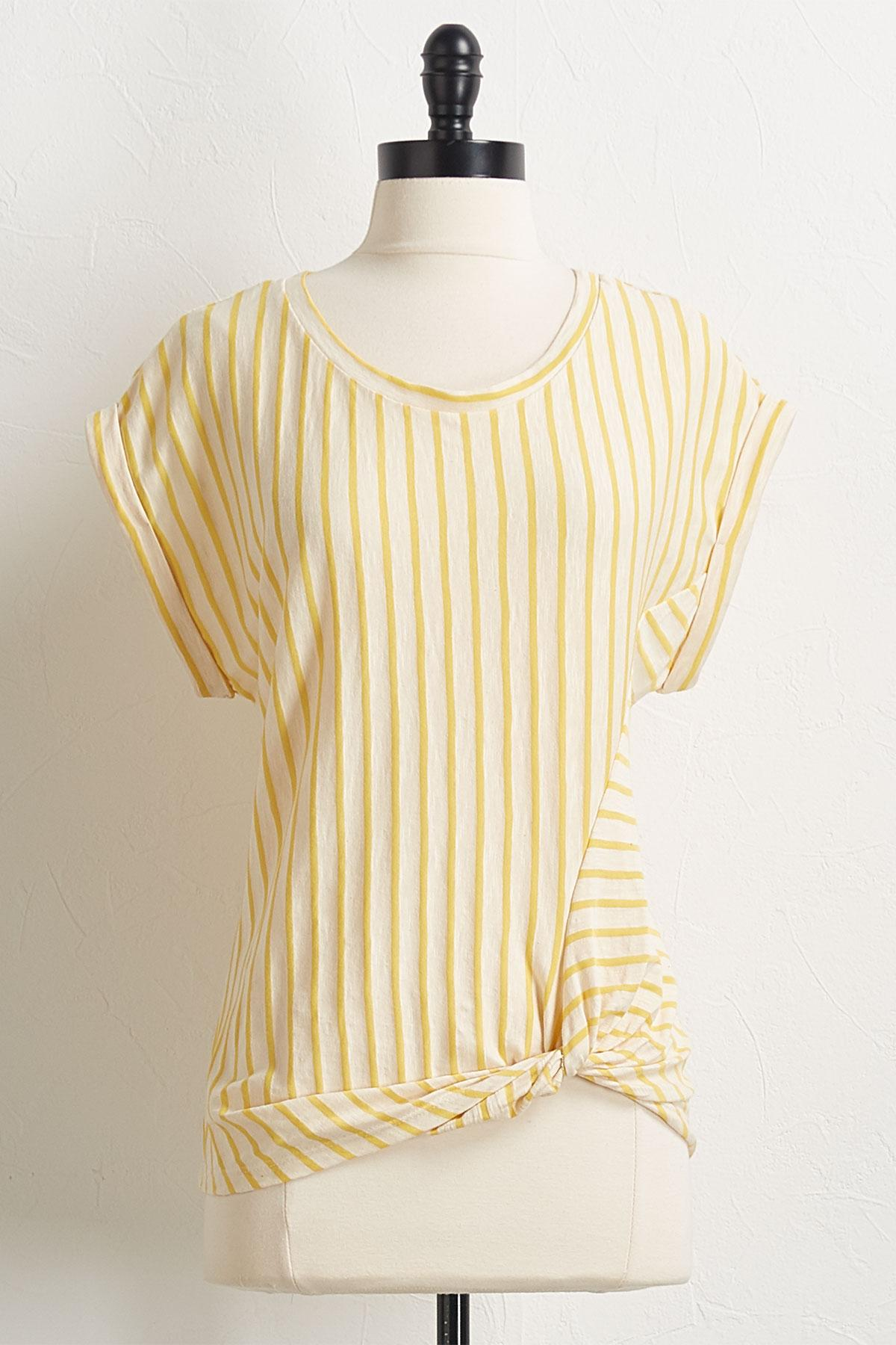 Knotted Golden Stripe Top
