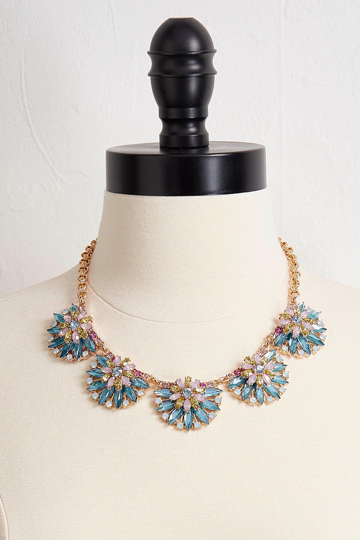 Fanned Glass Bib Necklace