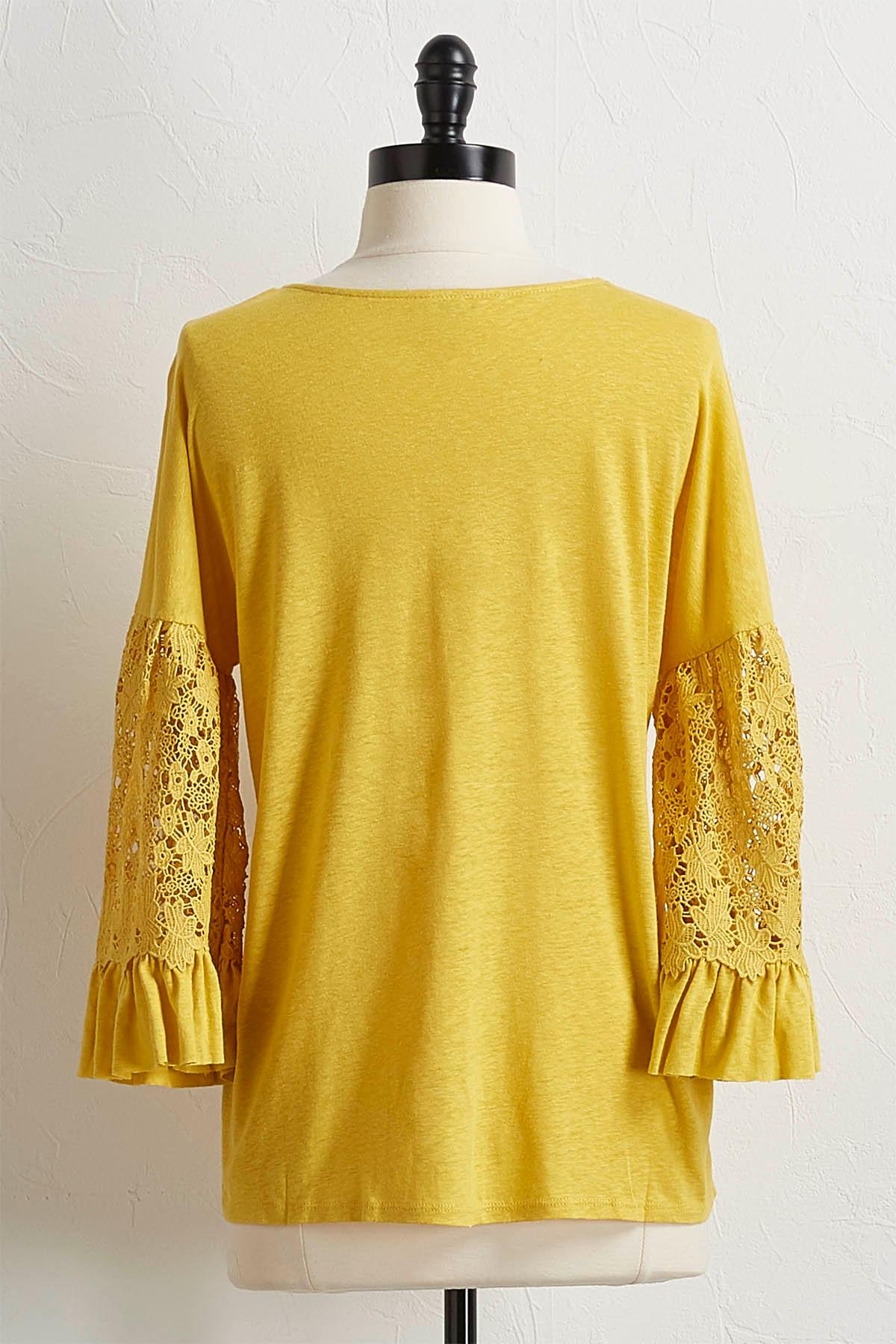 Golden Crochet Bell Sleeve Top