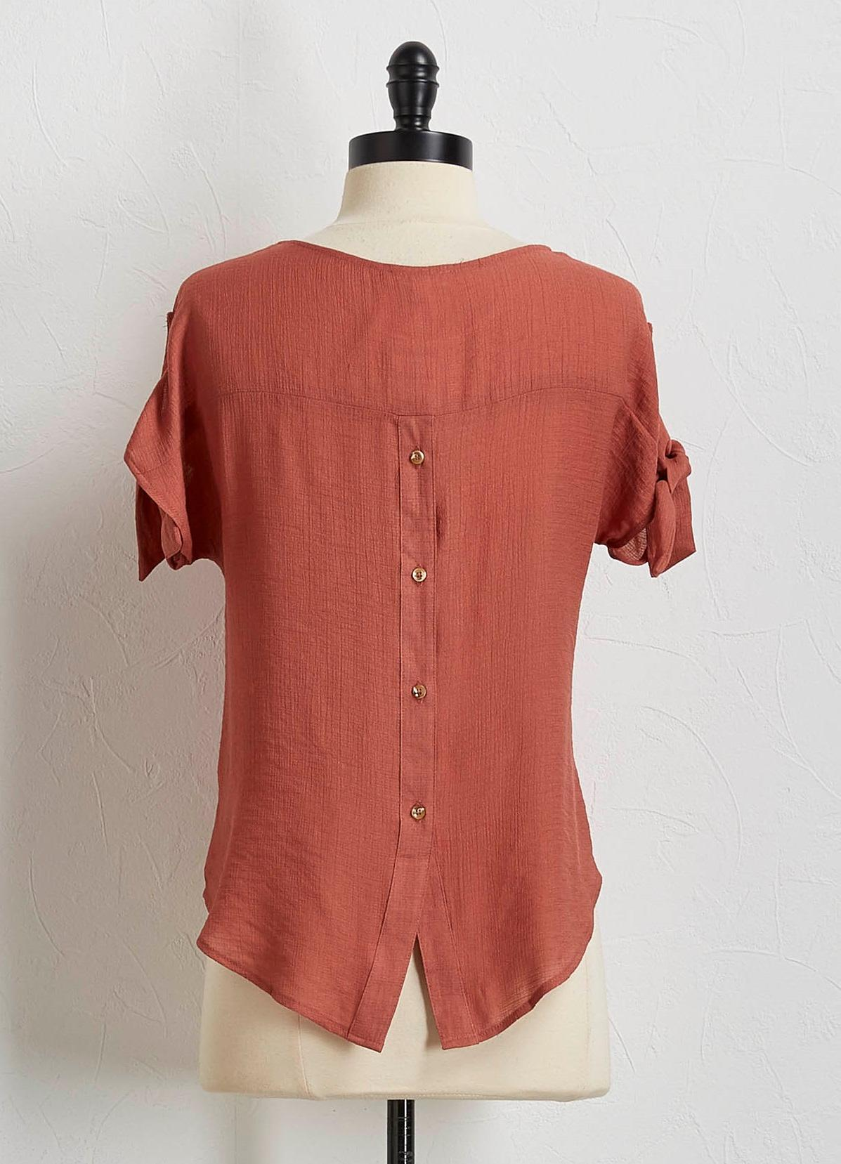Tie Sleeve Button Back Top