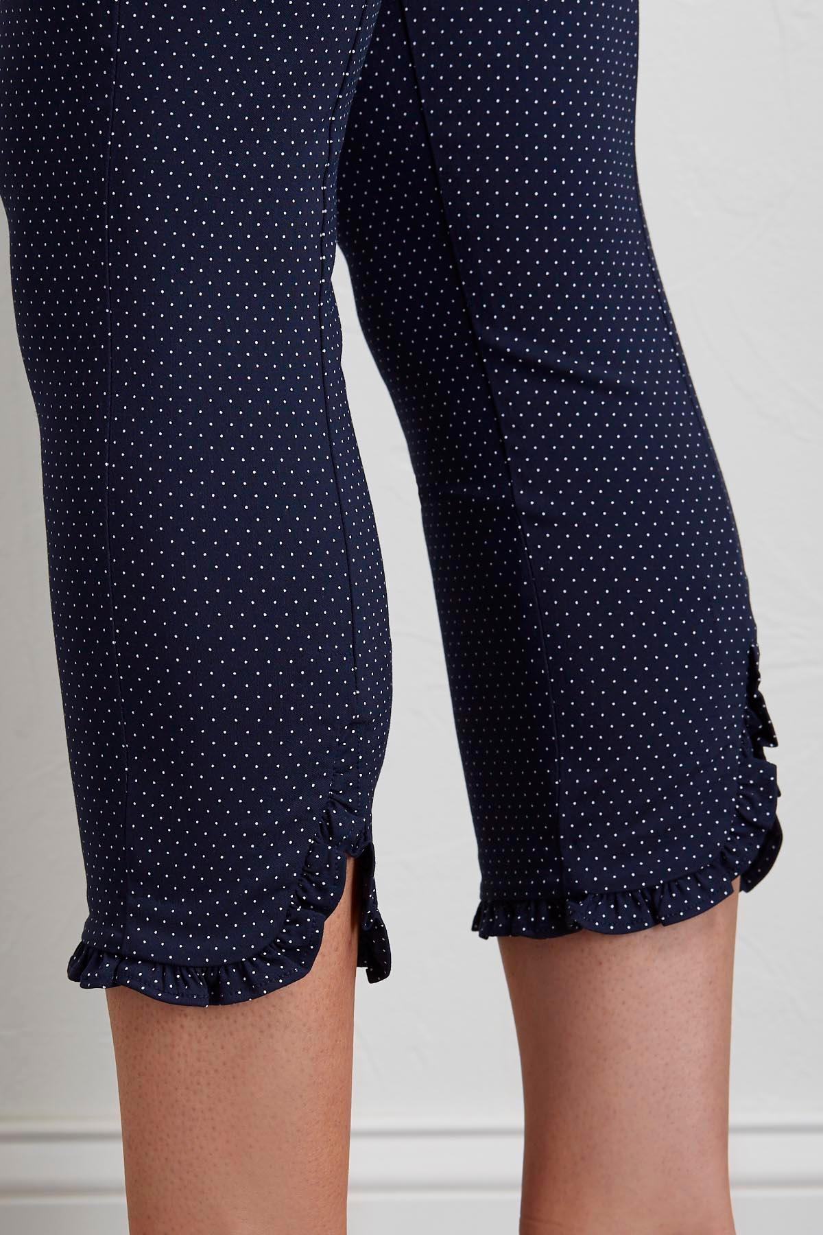 Polka Dot Cropped Pull- On Pants