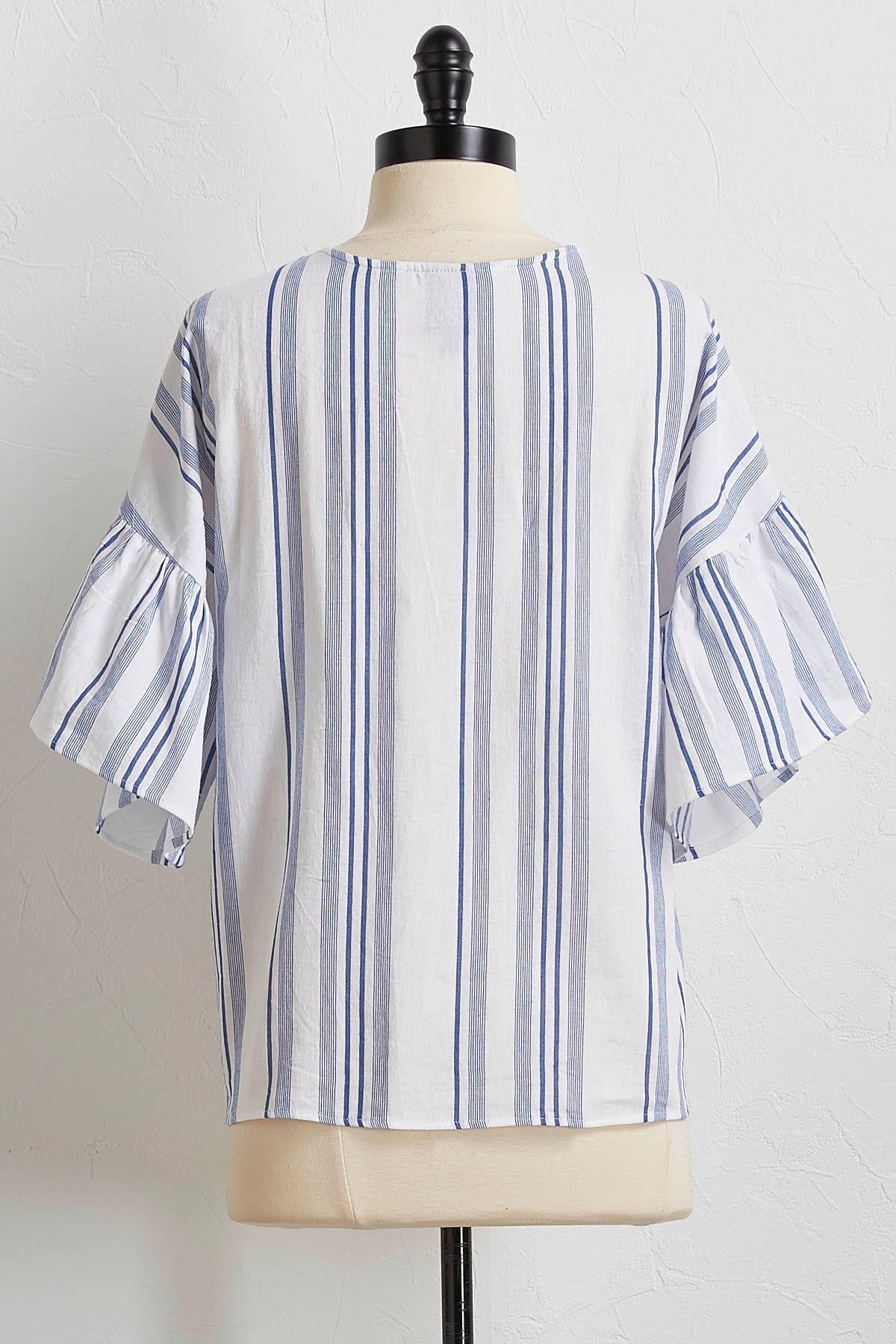 Striped Ruffled Sleeve Top