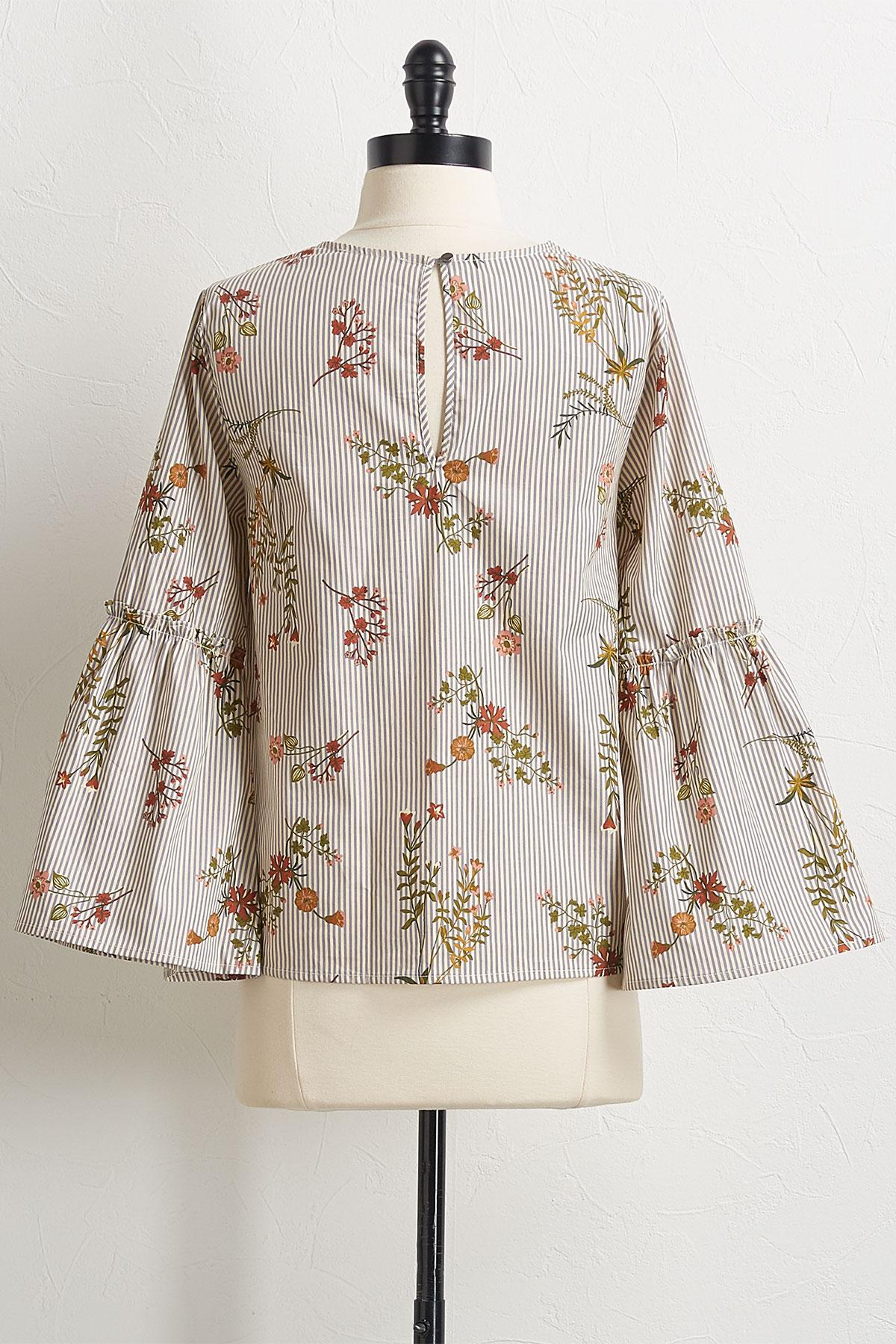 Gray Stripe Floral Top