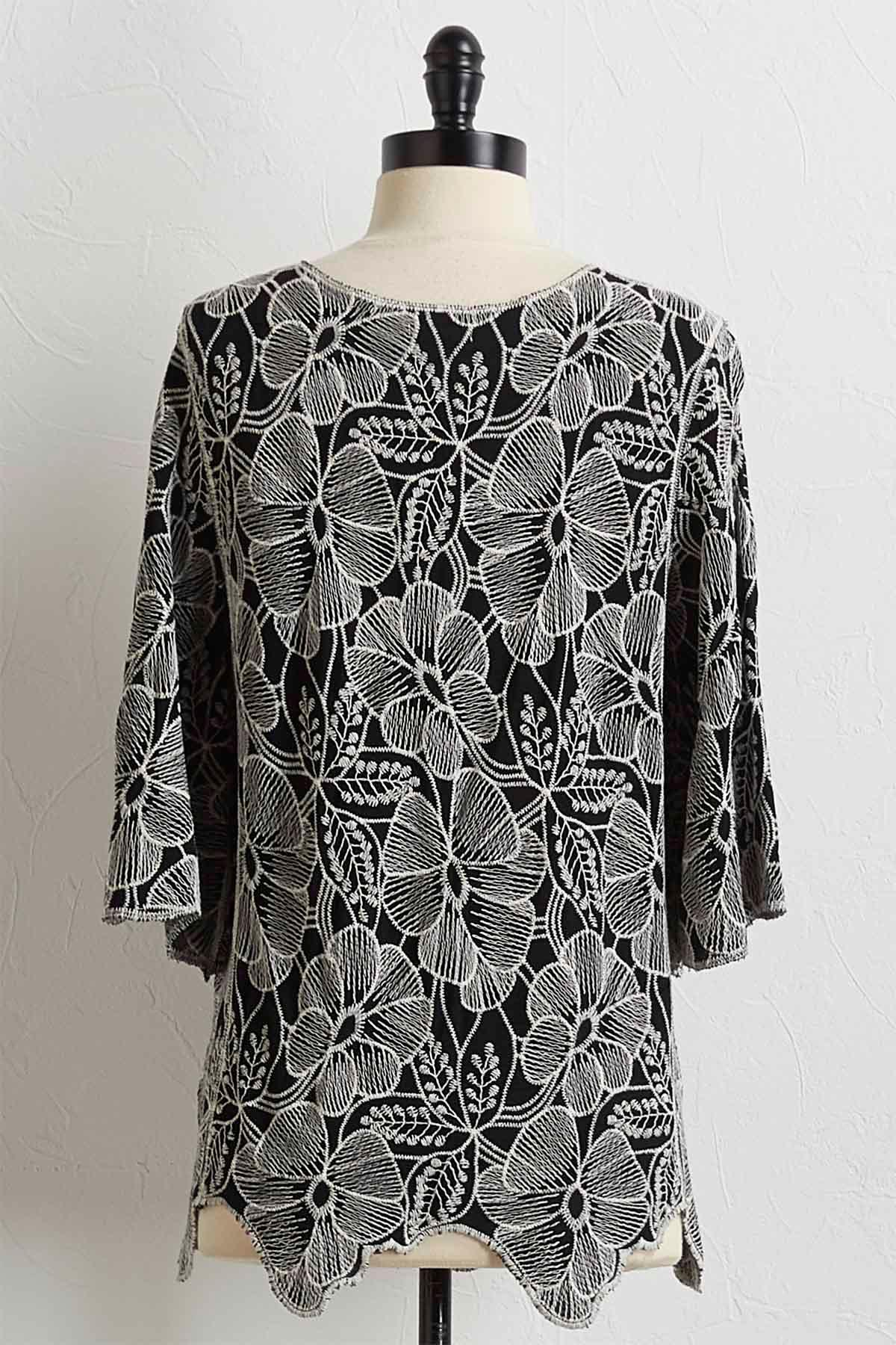 Floral Embroidered Scalloped Hem Top