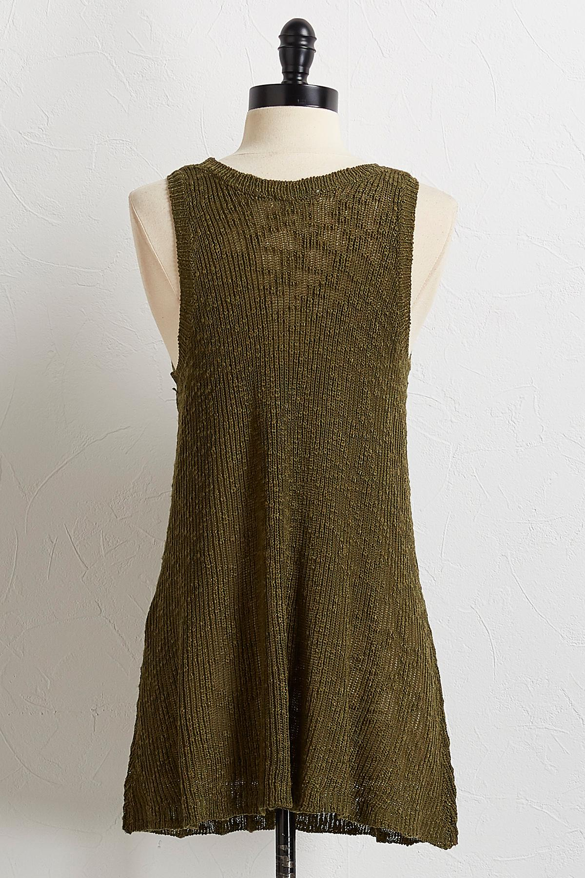 Olive Slub Knit Sweater Tank