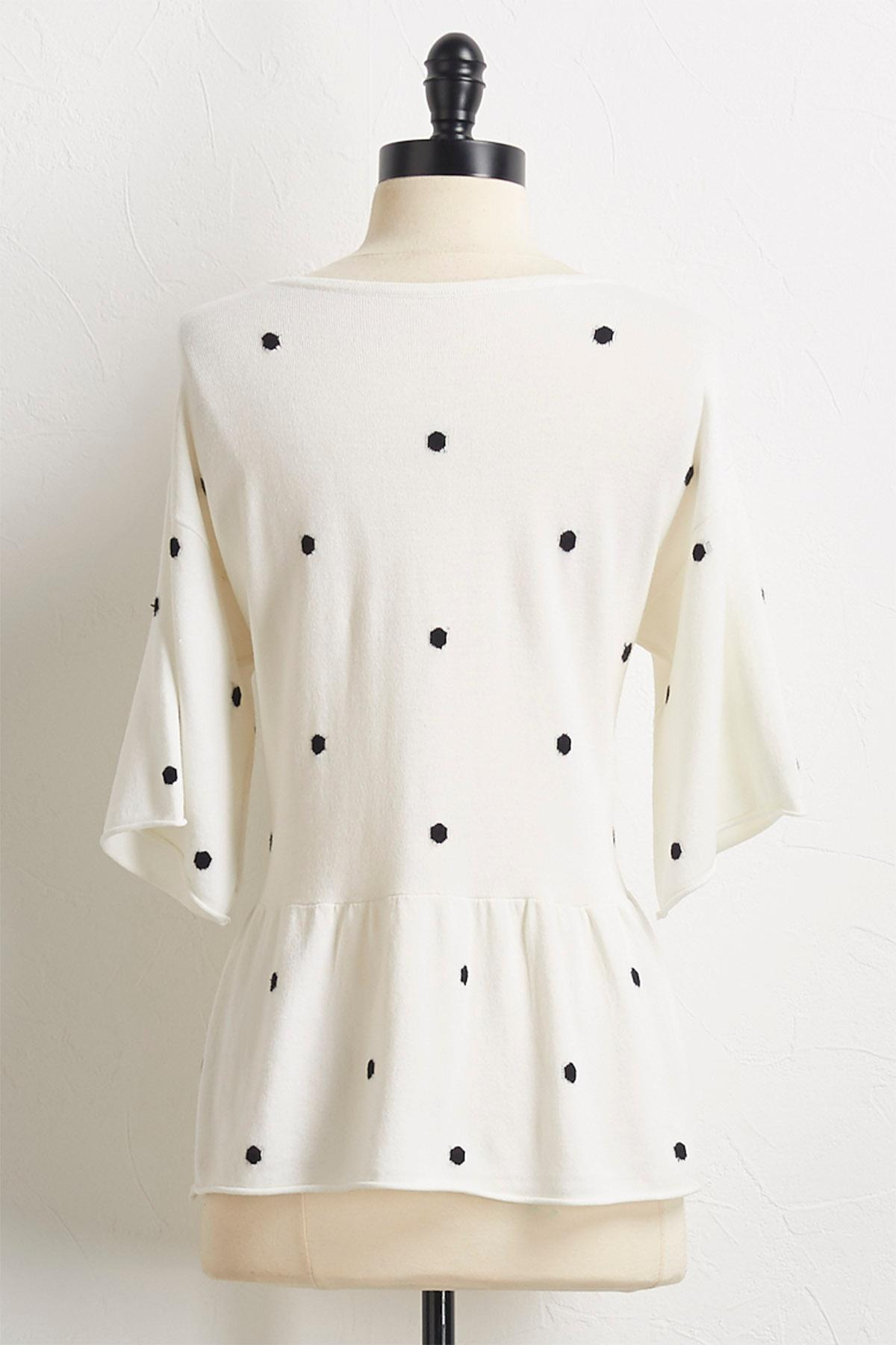 Polka Dotted Peplum Sweater
