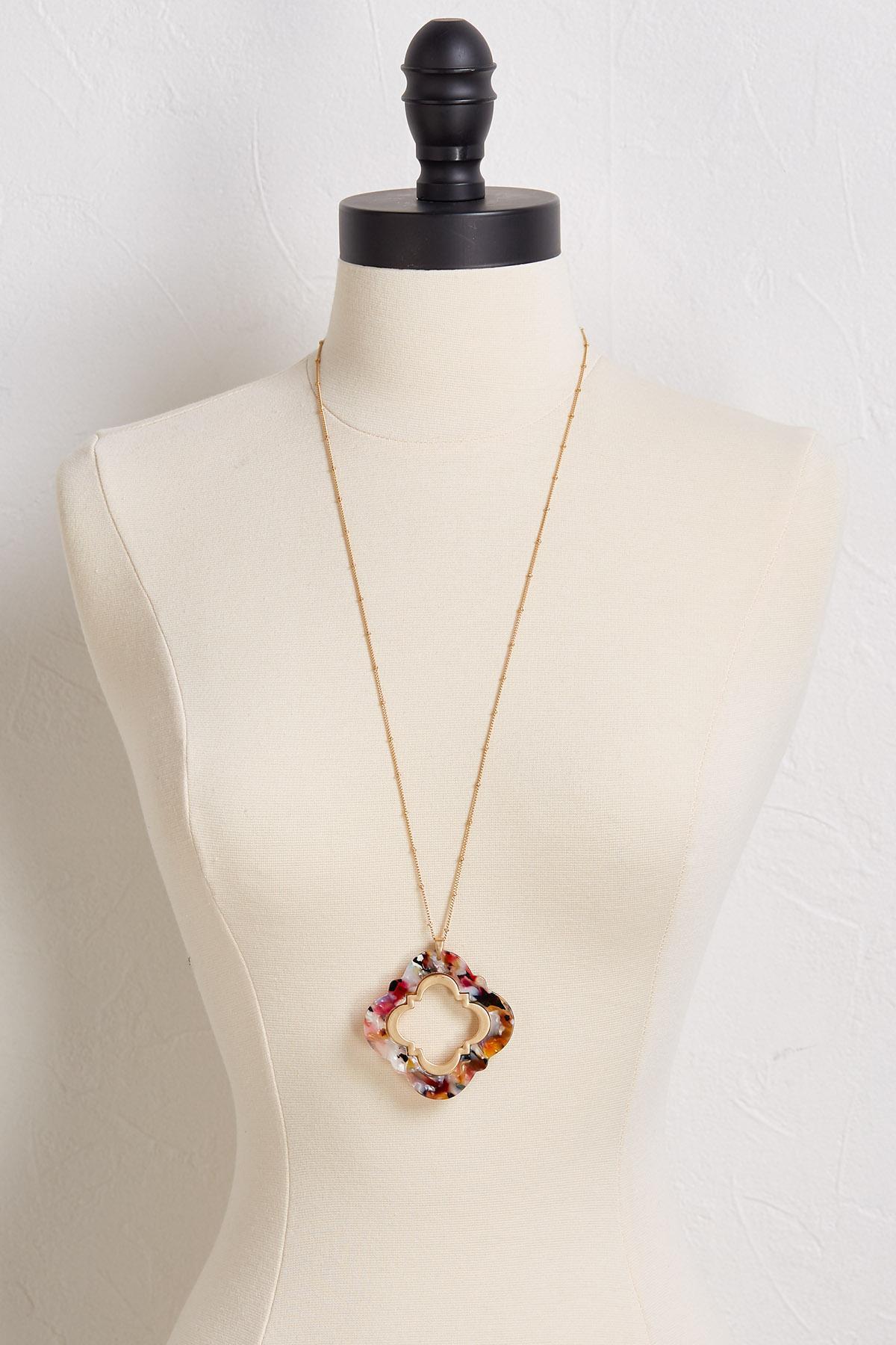 Lucite Clover Pendant Necklace
