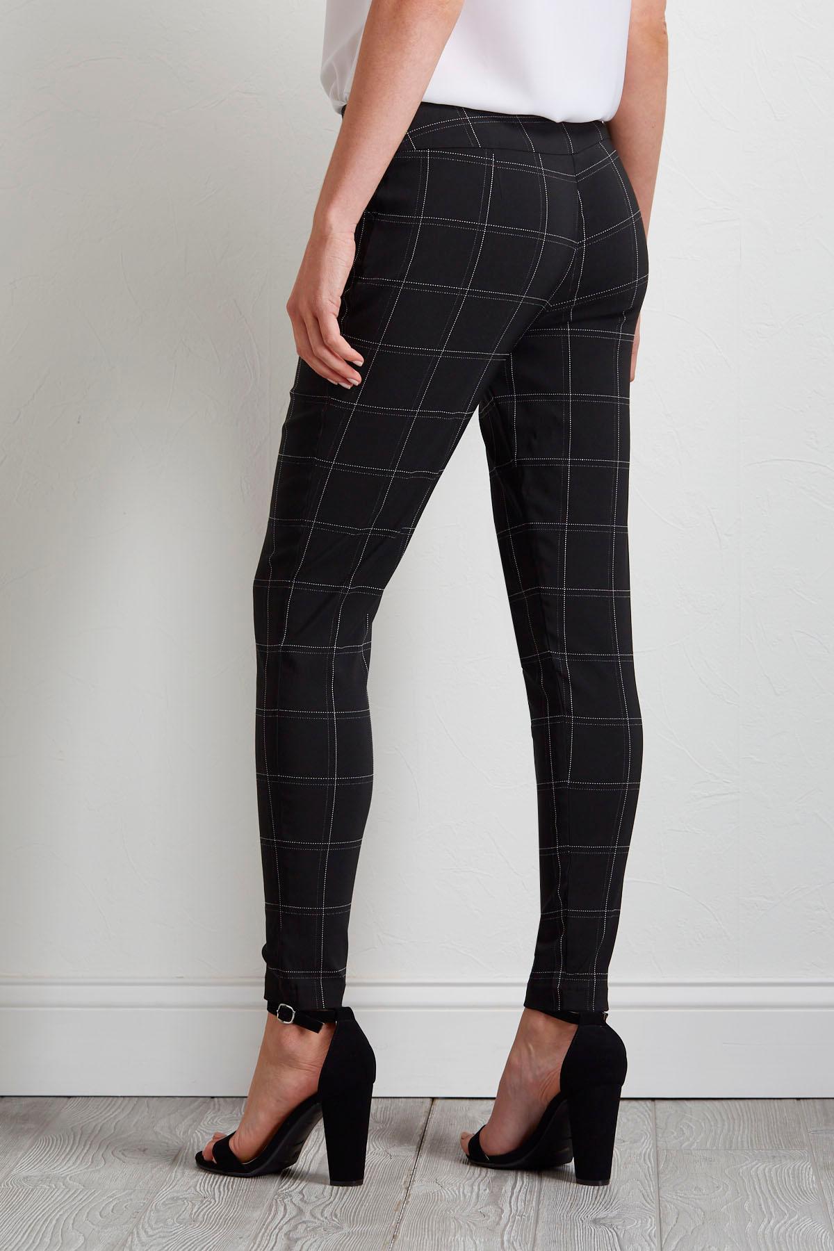 Grid Bengaline Ankle Pants
