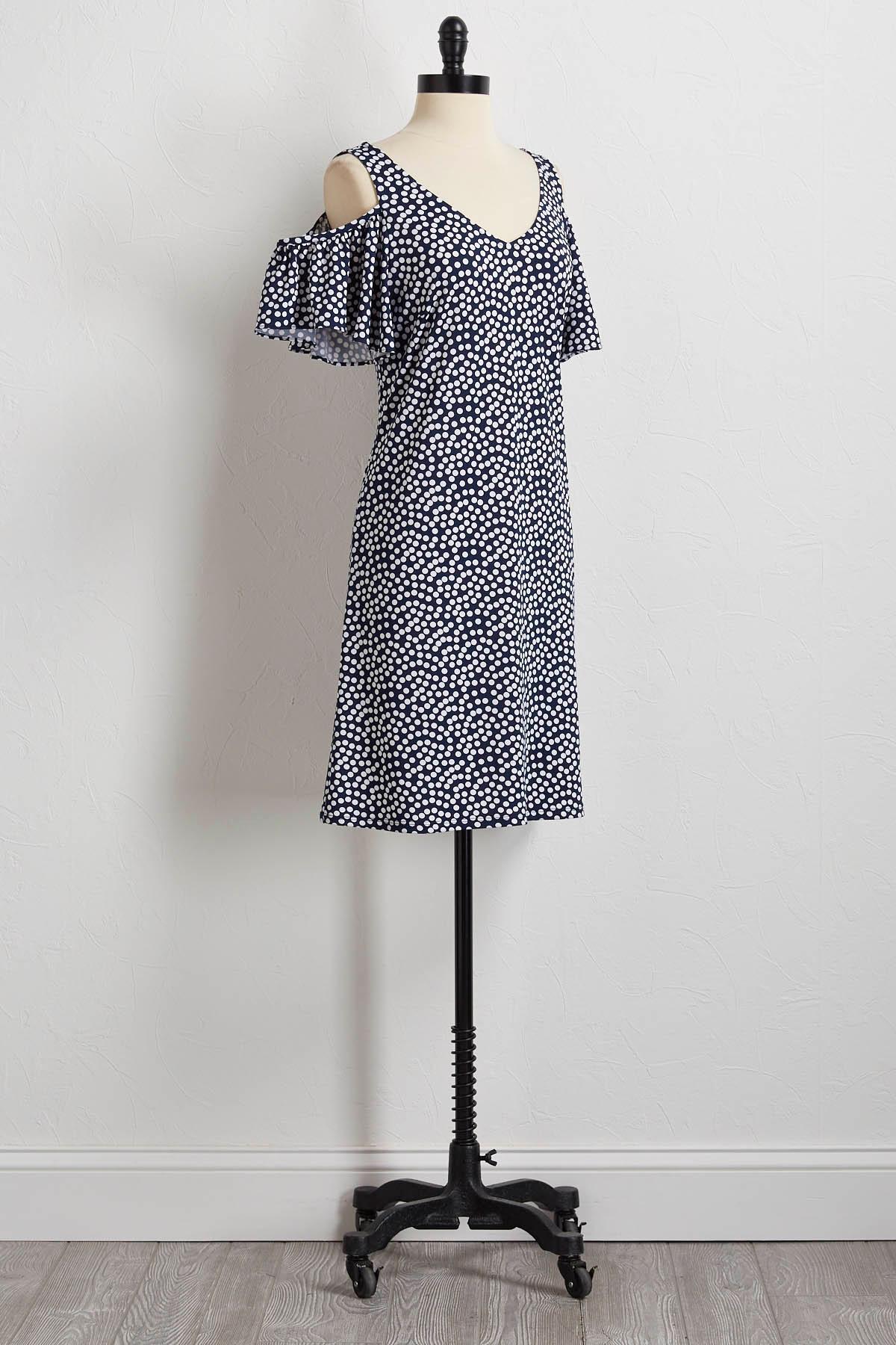 Polka Dot Bare Shoulder Shift Dress