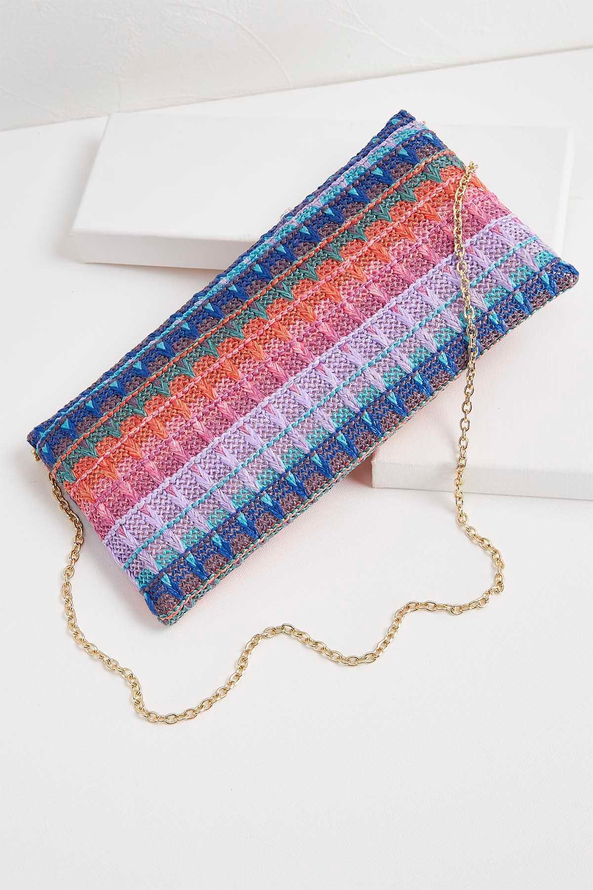 Multicolored Woven Straw Clutch