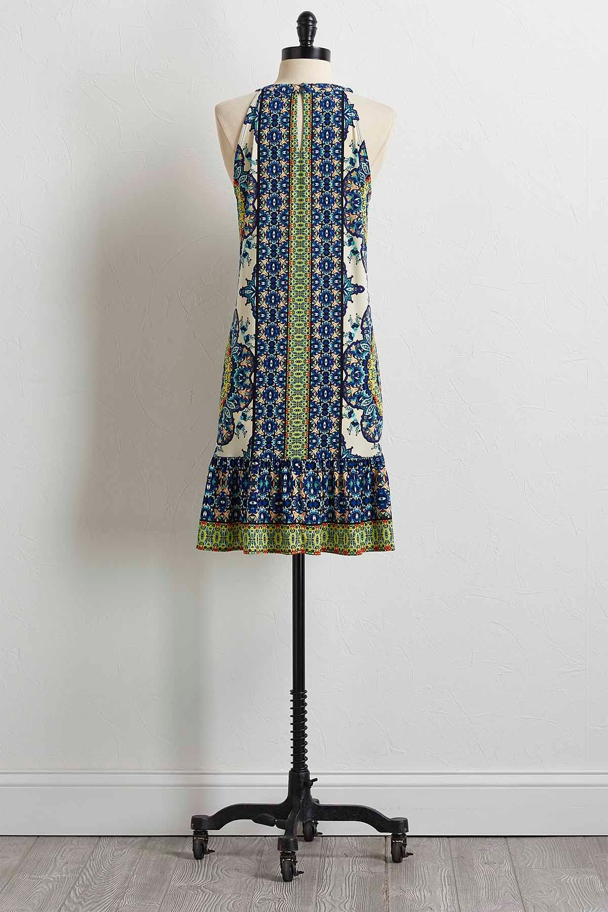Mixed Floral Flounced Hem Dress