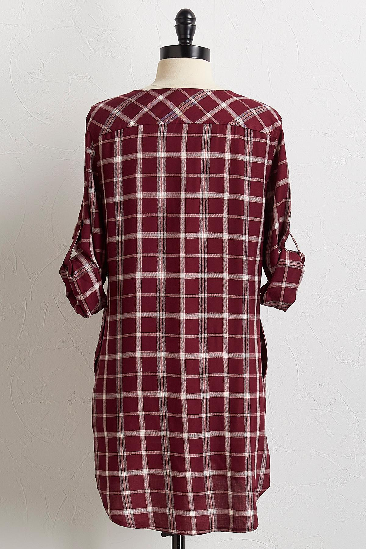 Wine Plaid Tunic