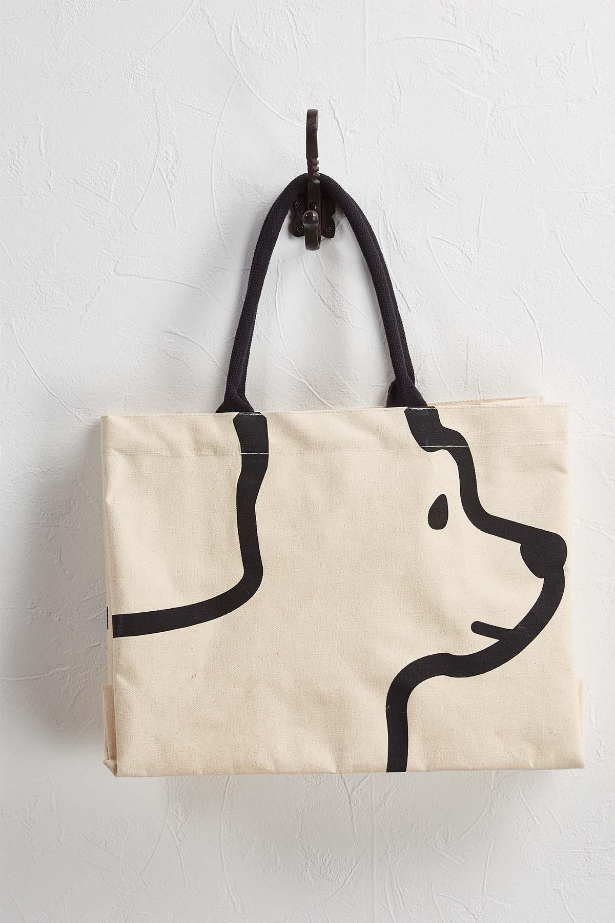 Sequin Dog Canvas Tote